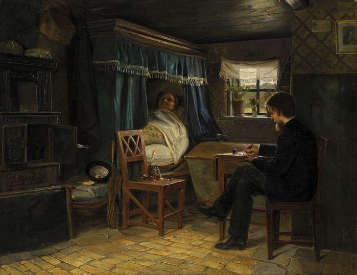 Doktor Źródło: Emmery Rondahl, Doktor, 1882, olej na płótnie, domena publiczna.