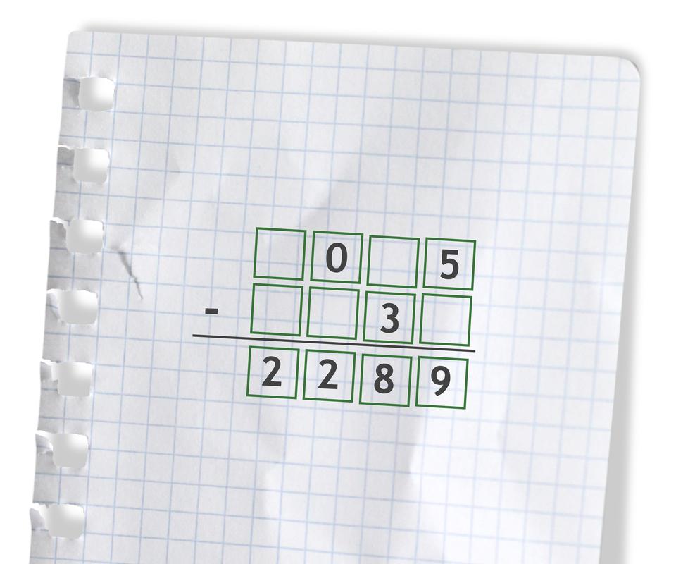 Przykład - puste miejsca do uzupełnienia cyframi: puste 0 puste 5 odjąć puste puste 3 puste =2289.