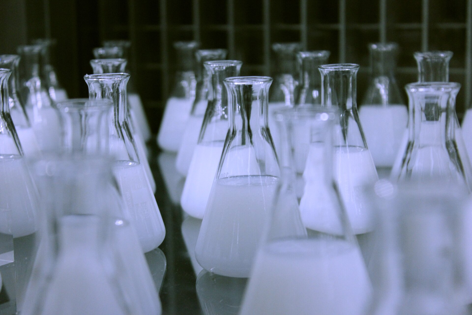 Na fotografii znajdują się szklane kolby laboratoryjne zawierające ciecz wbiałym kolorze.