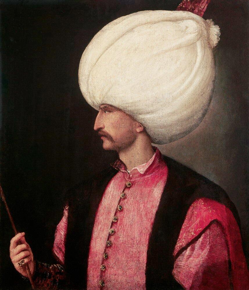 Portret Sulejmana, pędzla Tycjana (ok. 1530) Portret Sulejmana, pędzla Tycjana (ok. 1530) Źródło: Titian, ok. 1530, domena publiczna.