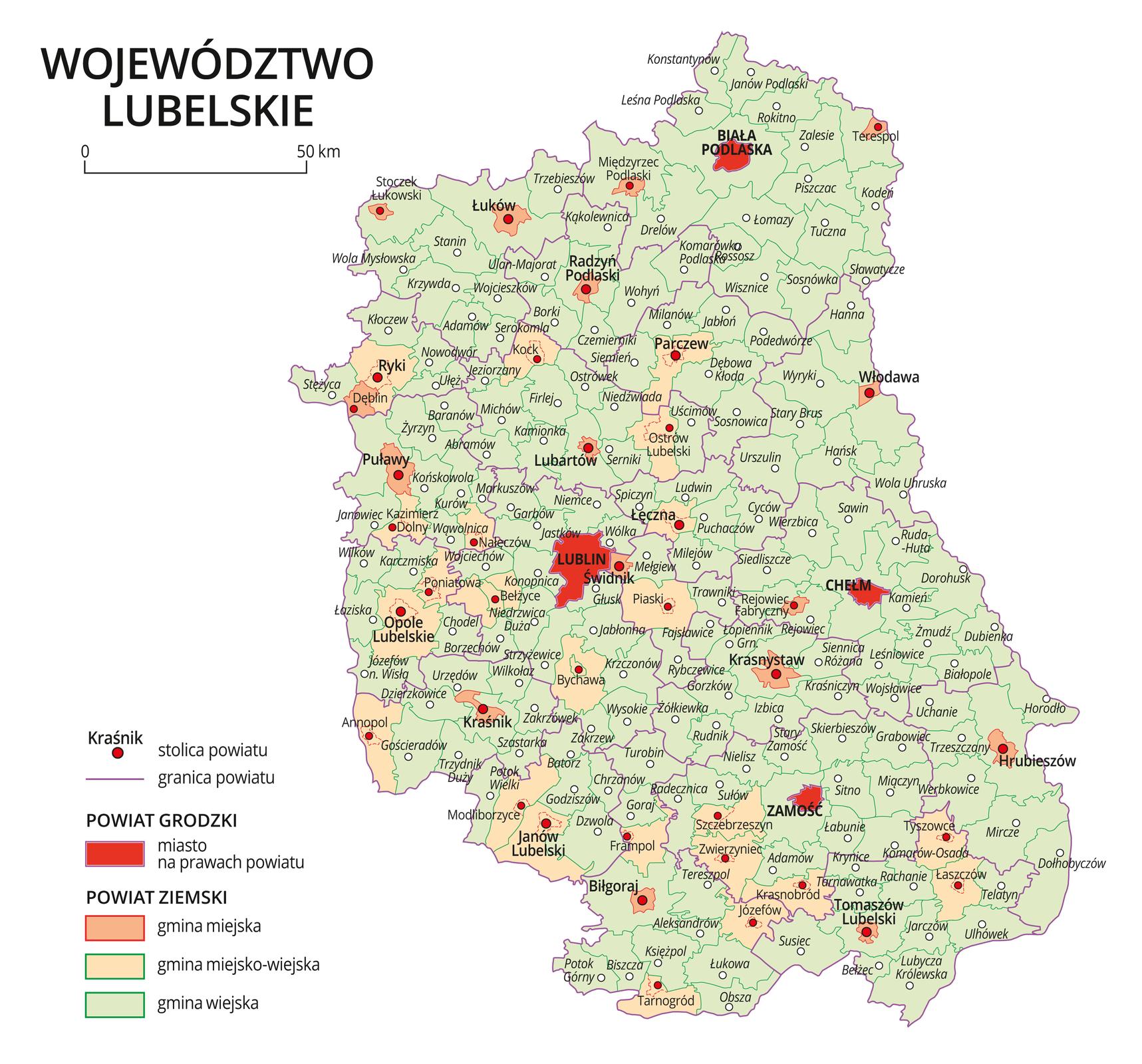 Mapa województwa lubelskiego. Na mapie fioletowymi liniami zaznaczono granice powiatów ziemskich, dużymi czerwonymi kropkami zaznaczono miasta będące stolicami powiatów. Wobrębie powiatów ziemskich kolorami wyróżniono gminy miejskie, miejsko-wiejskie iwiejskie. Czerwonym kolorem wyróżniono powiaty grodzkie zmiastami na prawach powiatu, miasta te opisano dużymi literami. Kolory iznaki użyte na mapie opisano wlegendzie. Wlegendzie podziałka liniowa.