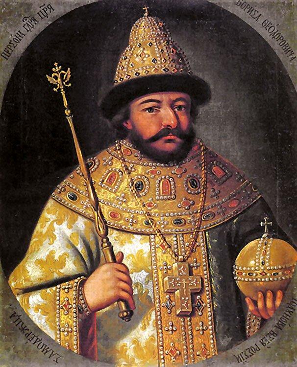 Car Borys Godunow według obrazu anonimowego malarza zXVI w. Car Borys Godunow według obrazu anonimowego malarza zXVI w. Źródło: XVII w., domena publiczna.