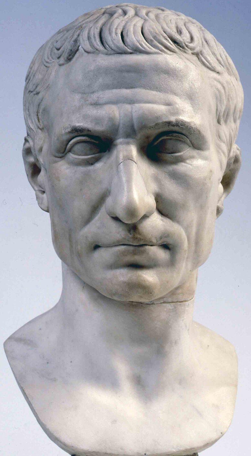 Ilustracja przedstawia marmurowe popiersie Gajusza Juliusza Cezara. Wizerunek jest bardzo realistyczny. Cesarz ukazany jest jako dojrzały mężczyzna. Ma krótkie włosy, dość duży nos, na czole zmarszczki.