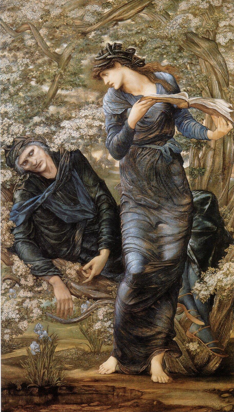 Oczarowanie Merlina Źródło: Edward Burne-Jones, Oczarowanie Merlina, 1874, olej na płótnie, domena publiczna.