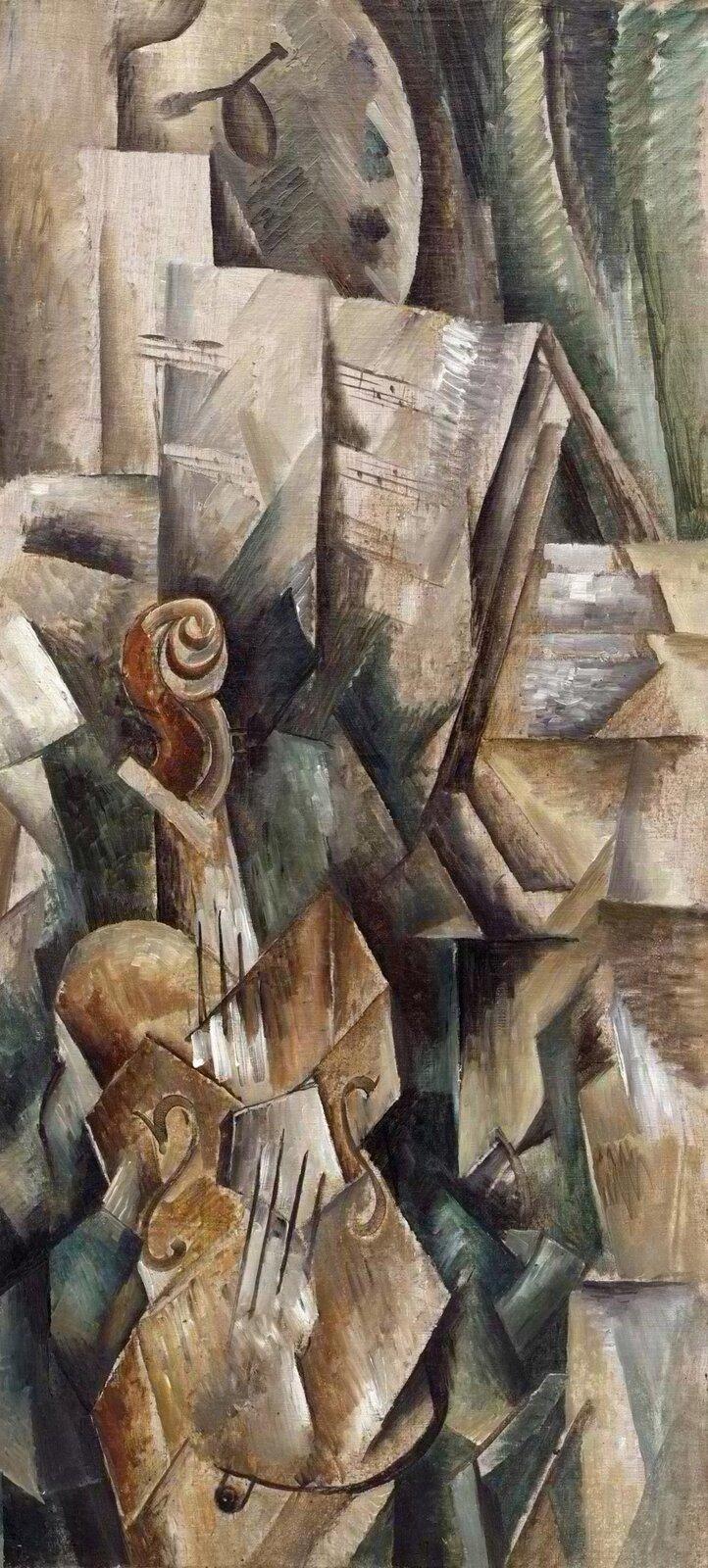 """Ilustracja przedstawia obraz Georgesa Braque'a pt. """"Skrzypce ipaleta"""". Ukazuje ona kubistyczne dzieło. Na pierwszym planie widzimy skrzypce, karty znutami oraz paletę malarską. Szara paleta jest widoczna ugóry, zkolei brązowe skrzypce są udołu. Przedmioty te zostały podzielone, jednakże są rozpoznawalne. Wtle widzimy kotarę/zasłonę, która odsłania przed widzem wymienione przedmioty. Dominują kolory ciemne, jak czerń, ciemna zieleń, atakże szarości, brązy, beże."""