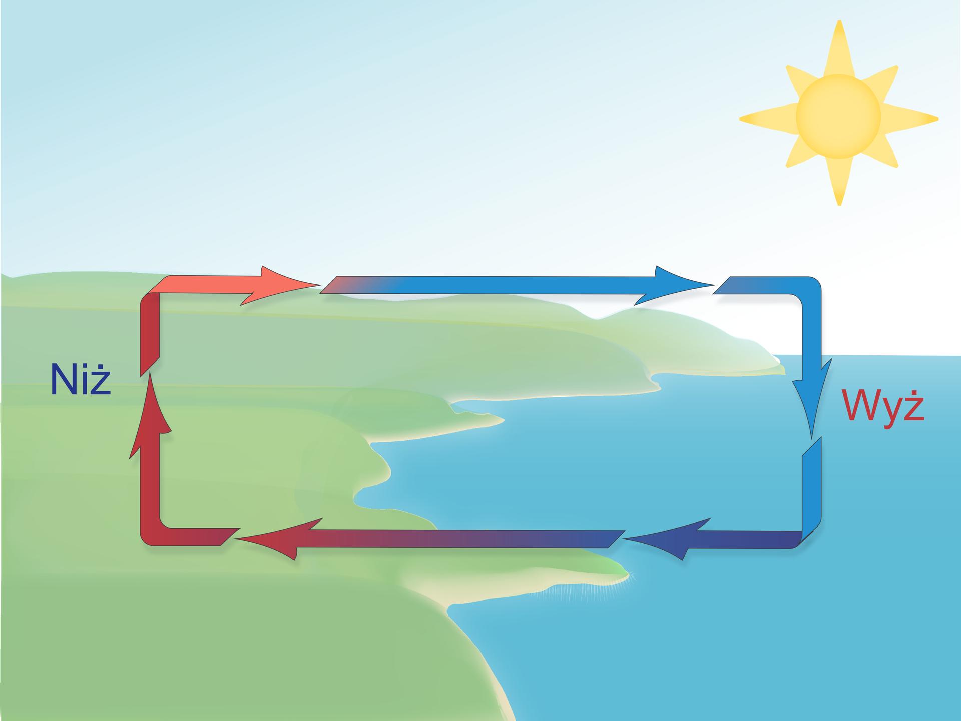 """Ilustracja przedstawia brzeg morza wsłoneczny dzień. Na lewo teren na zielono. Na prawo niebieskie morze. Na pierwszym planie strzałki ułożone wkształcie prostokąta wskazują kierunek cyrkulacji powietrza. Groty strzałek skierowane zgodnie zruchem wskazówek zegara. Na lewo od strzałek nad lądem napis """"niż"""". Strzałki nad lądem wkolorze czerwonym. Na prawo od strzałek nad wodą napis """"wyż"""" istrzałki wkolorze niebieskim."""