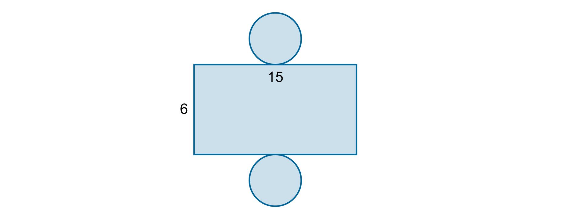 Rysunek siatki walca, wktórej prostokąt ma wymiary 6 na 15.