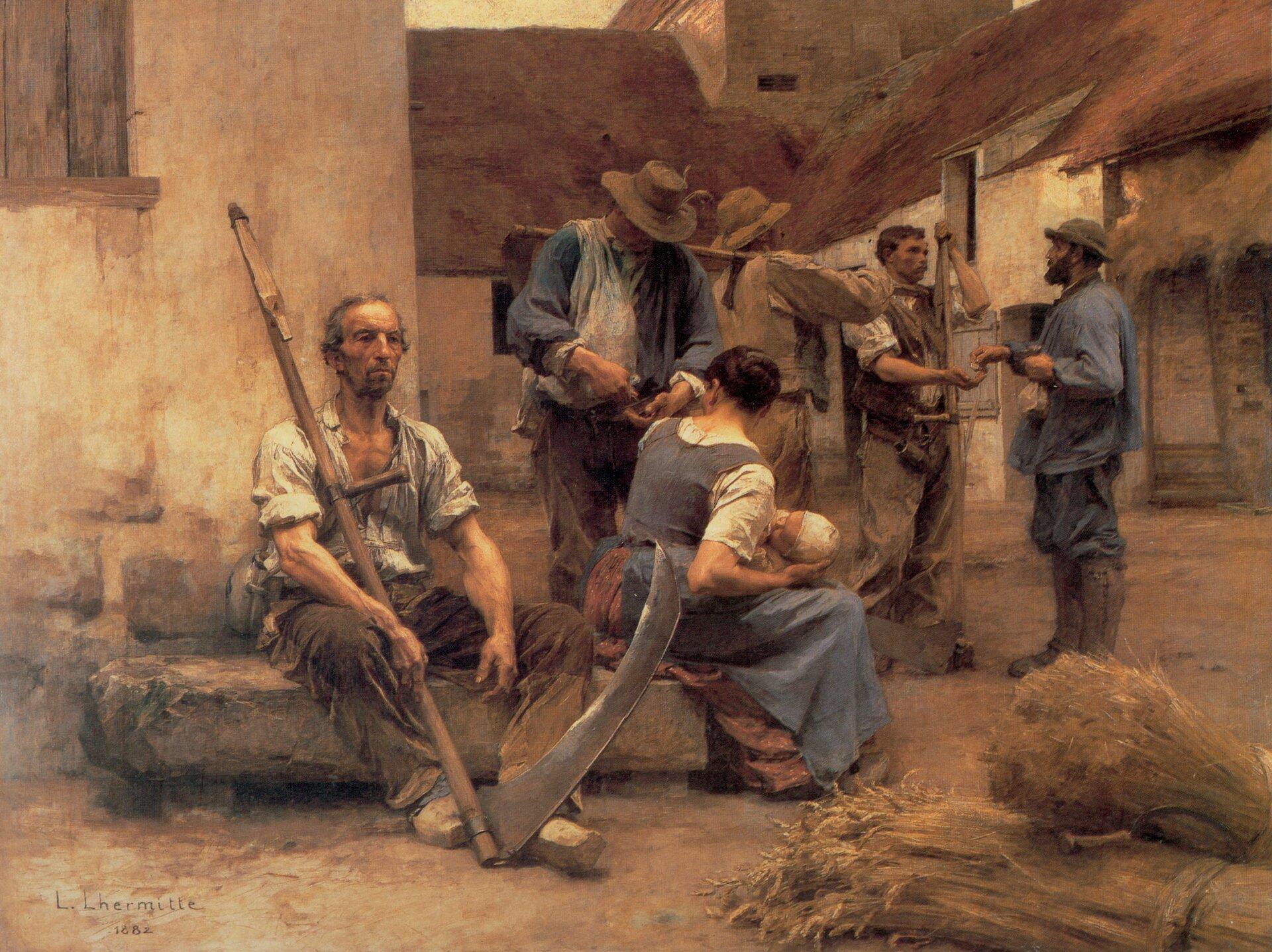 Wypłata żniwiarzy Źródło: Léon Lhermitte (1844–1925; czyt.: leon lermit; francuski malarz), Wypłata żniwiarzy, 1882, olej na płótnie, Musée d'Orsay, Paryż, domena publiczna.