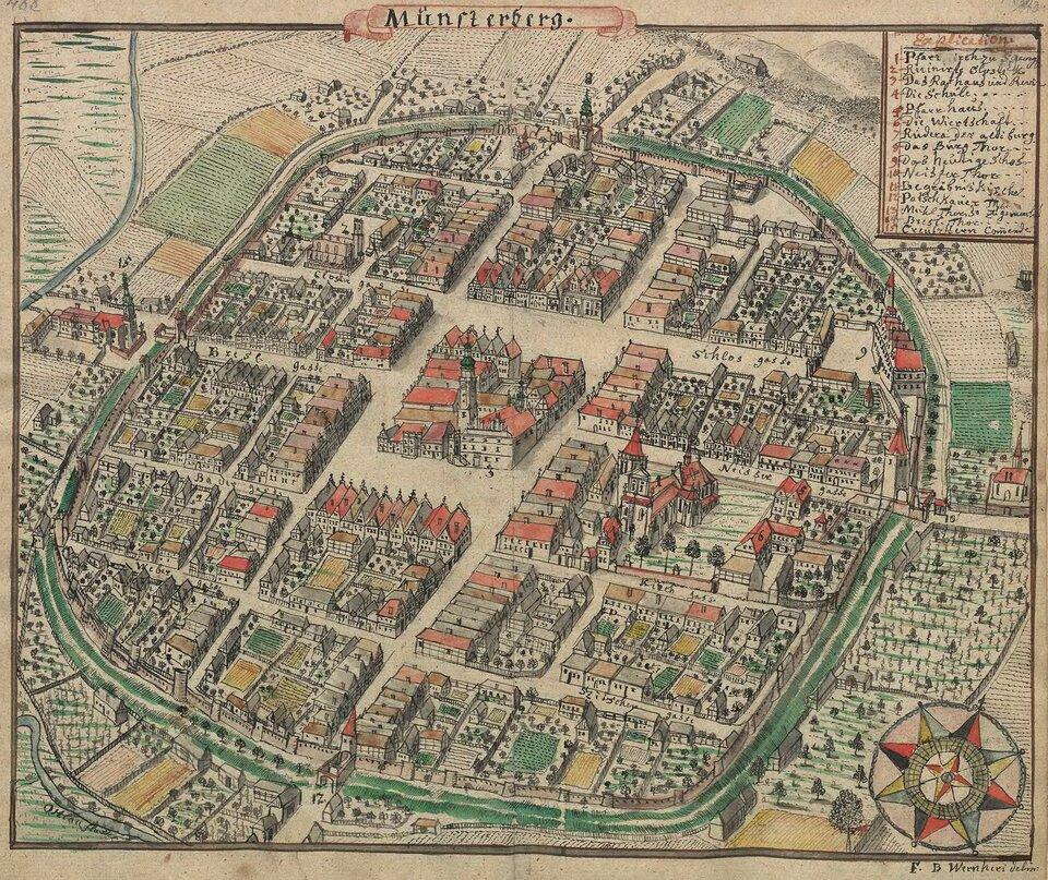 Widok XVIII-wiecznego miasta Ziębice, które zachowało układ ulic miasta średniowiecznego. Rysunek F.B. Wernera zTopographia Seu Compendium Silesiae. Pars II.