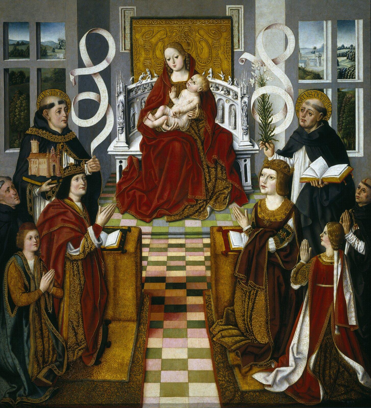 Izabela Kastylijska iFerdynand Aragoński Źródło: Maestro de la Virgen de los Reyes Católicos, Izabela Kastylijska iFerdynand Aragoński, 1491-1493, Prado, Madryt, domena publiczna.
