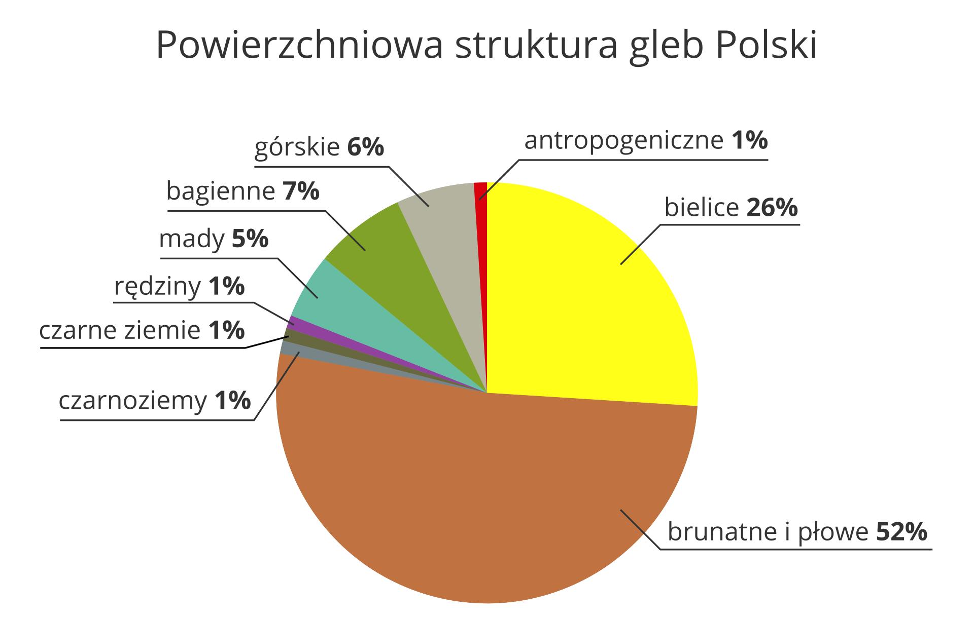 Na ilustracji diagram kołowy, powierzchniowa struktura gleb Polski. Bielice26,00%Brunatne ipłowe52,00%Czarnoziemy1,00%Czarne ziemie1,00%Rędziny1,00%Mady5,00%Bagienne7,00%Górskie6,00%Antropogeniczne1,00%