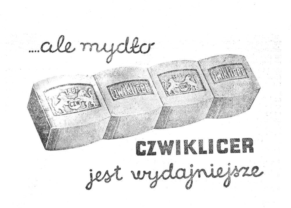 Reklama mydła Czwiklicer z1936 roku Reklama mydła Czwiklicer z1936 roku Źródło: domena publiczna.
