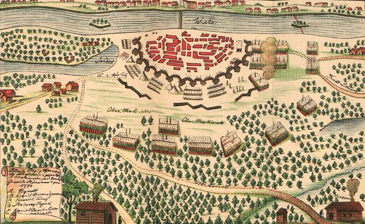 Plan sytuacyjny ataku Rosjan na Pragę w1794 r. Źródło: Plan sytuacyjny ataku Rosjan na Pragę w1794 r., domena publiczna.