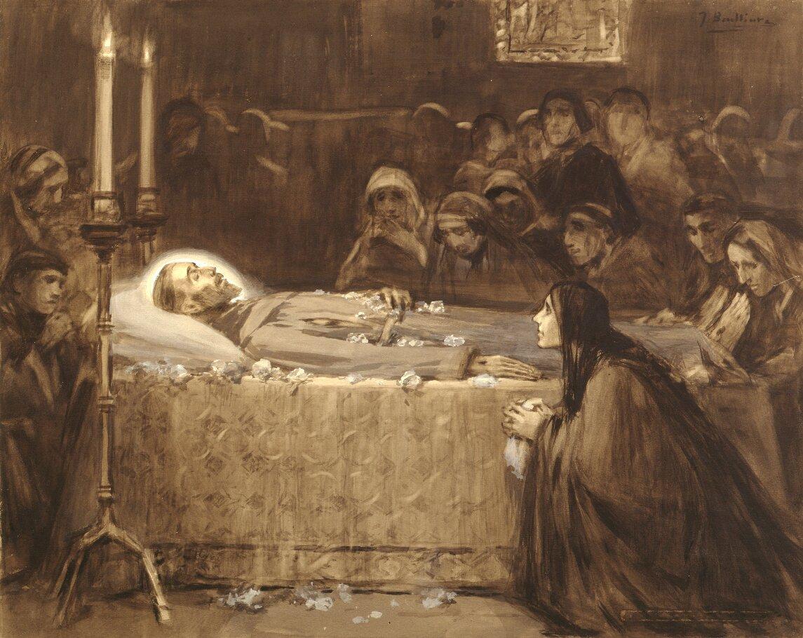Śmierć św. Franciszka Przyjrzyj się obrazowi. Jak rozpoznasz, że przedstawia on śmierć św. Franciszka? Źródło: José Benlliure yGil, Śmierć św. Franciszka, przełom XIX/XX wieku, domena publiczna.