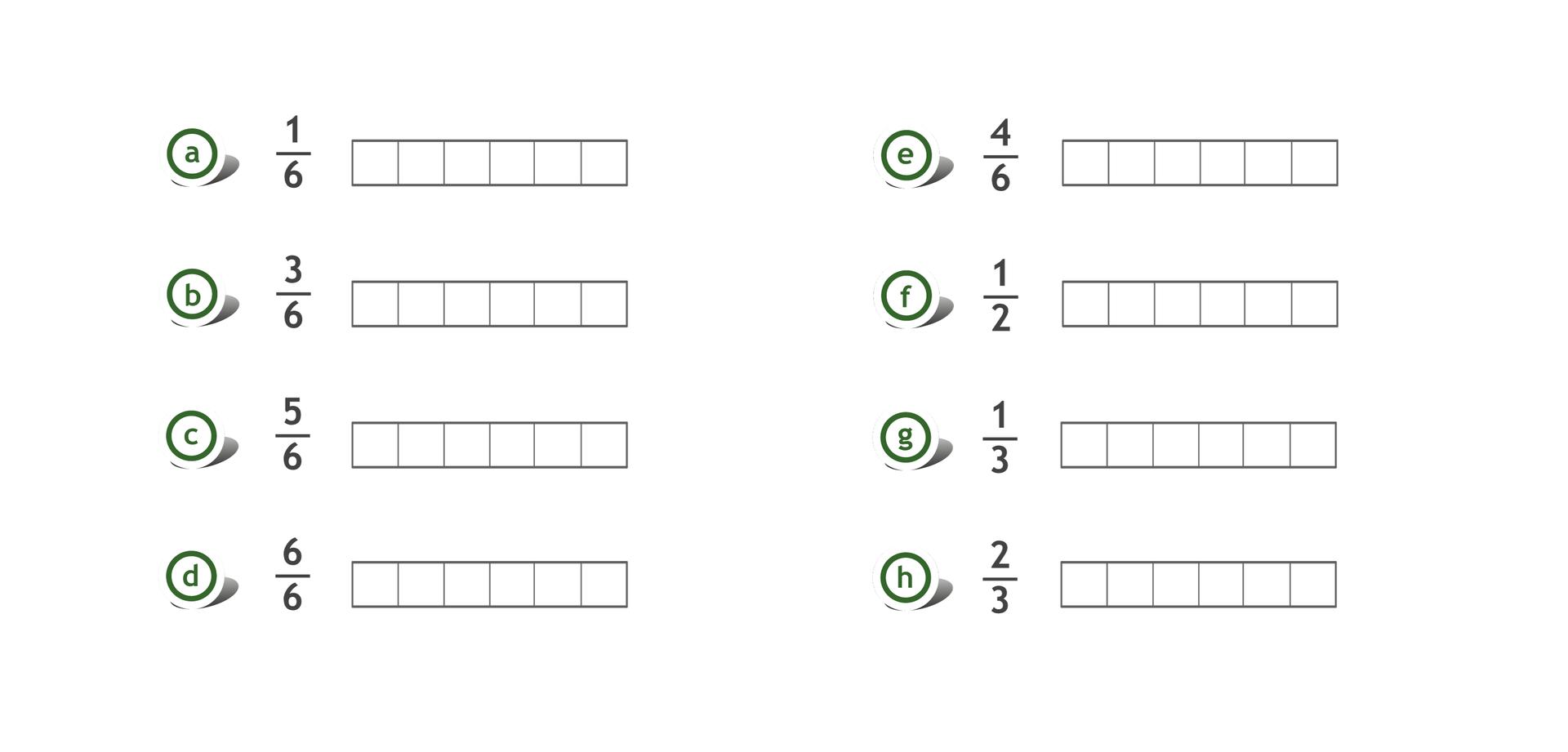 Rysunek ośmiu prostokątów, każdy podzielony na 6 równych części. Przy prostokątach podane ułamki: jedna szósta, trzy szóste, pięć szóstych, sześć szóstych, cztery szóste, jedna druga, jedna trzecia, dwie trzecie.