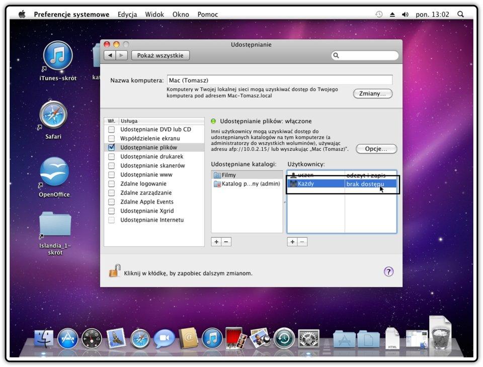 Ilustracja przedstawiająca: Krok 3 udostępniania innych katalogów wsystemie Mac OS X