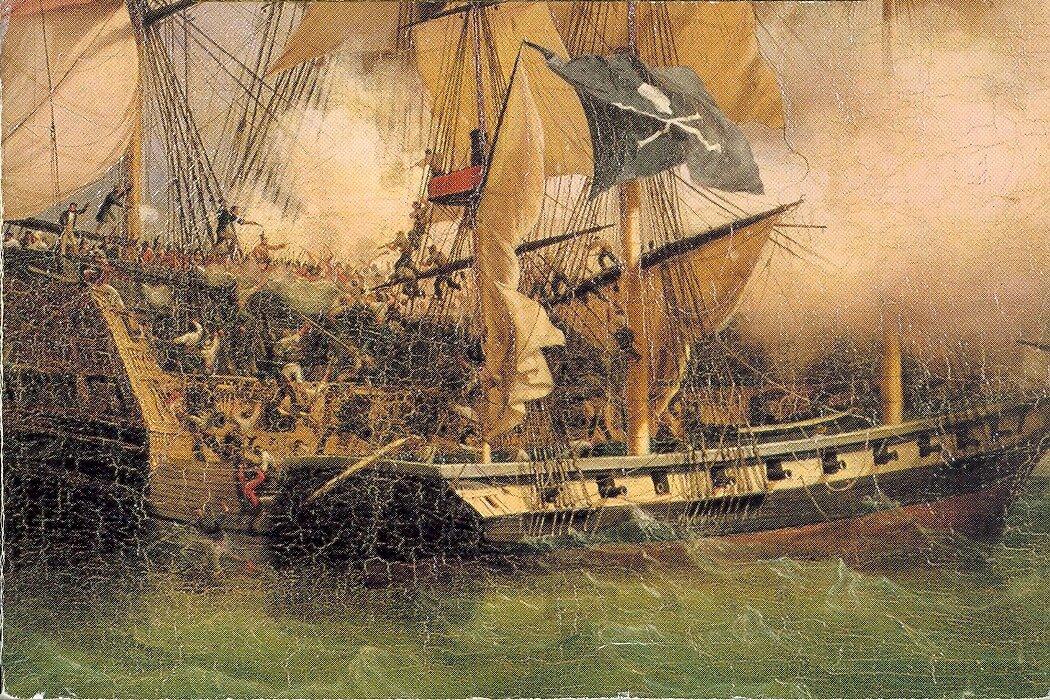 Atak korsarzy (piratów pozostających na usługach władców) Atak korsarzy (piratów pozostających na usługach władców) Źródło: Ambroise-Louis Garneray, ok. 1800, domena publiczna.