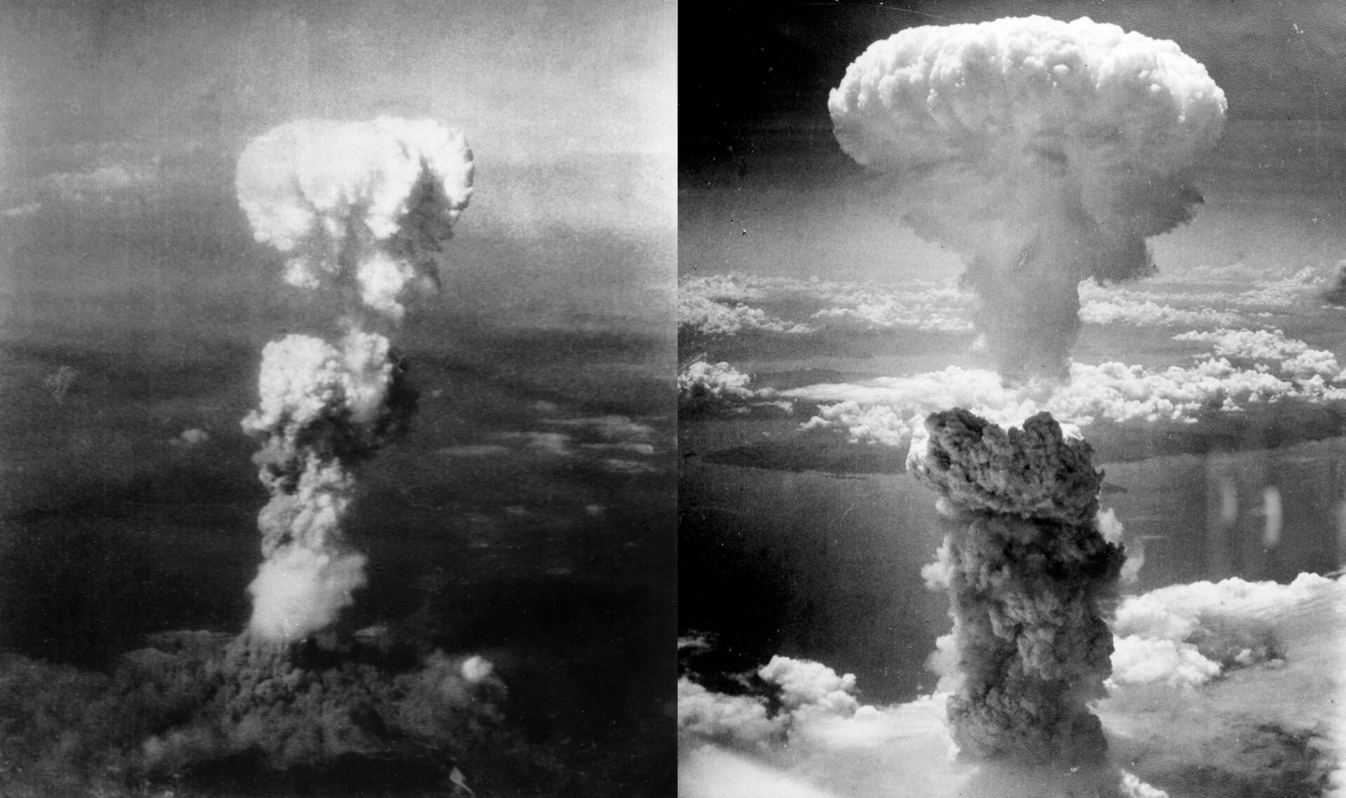 Dwa czarno białe zdjęcia chmury atomowej po zrzuceniu bomby na Nagasaki wykonane zpowietrza. Zdjęcie po lewej przedstawia chmurę atomową nad Nagasaki. Chmura nad samą Ziemią jest czarna. Noga chmury, tak zwany komin, jest szara. Górna część chmury ma kształt kapelusza. Całość to grzyb atomowy. Zdjęcie po prawej stronie przedstawia zbliżenie na komin chmury igórną cześć kopuły. Komin chmury ma kolor szary. Nad kominem biała kopuła. Chmury tworzą grzyb atomowy.