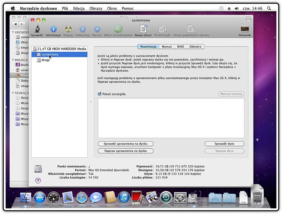 Zrzut okna: Narzędzia dyskowe wsystemie operacyjnym Mac OS X