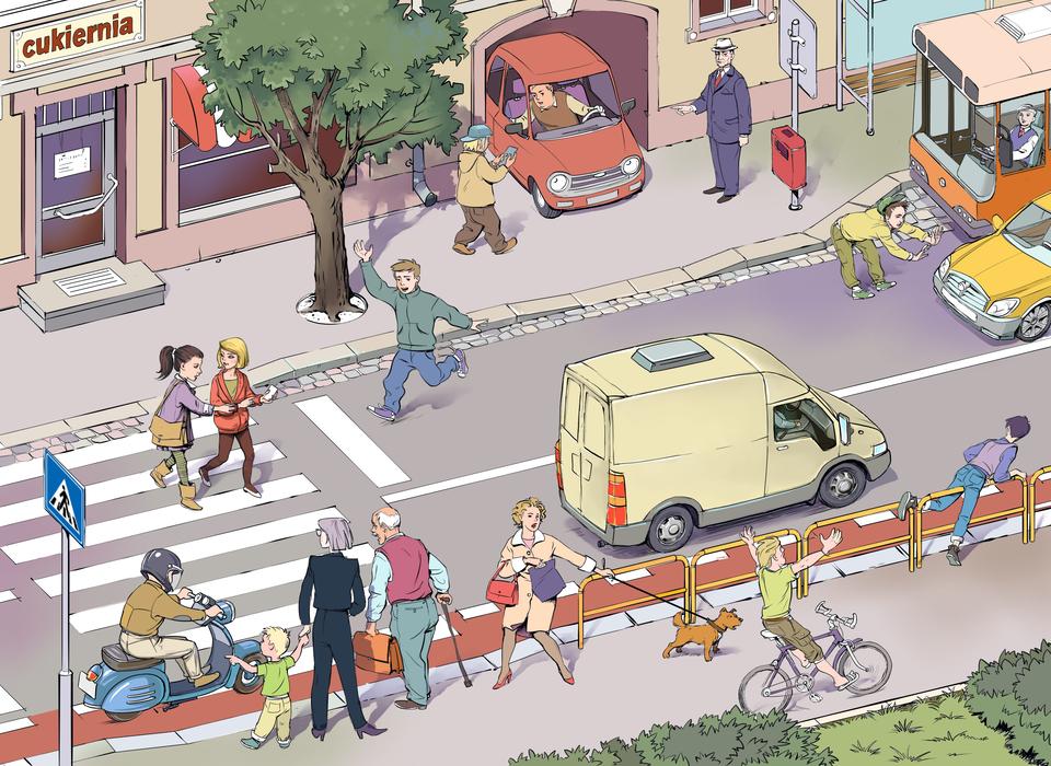 Ilustracja przedstawia za pomocą jednego rysunku różne sytuacje możliwe do wystąpienia na ruchliwej ulicy. Od lewej strony ilustracji do prawej rozciąga się ukośnie iwrzucie zgóry dwukierunkowa ulica. Po lewej stronie przejście dla pieszych. Na przejściu dwie uczennice oglądają telefon komórkowy, aprzed przejściem dla pieszych po ulicy drogę na ukos przebiega młody chłopak. Na przejście wjeżdża człowiek na skuterze. Na chodniku przy przejściu stoi starszy mężczyzna podpierający się olaskę, kobieta zmałym dzieckiem oraz kobieta zpsem na smyczy. Wzdłuż chodnika jedzie bez trzymanki rowerzysta zrękami uniesionymi wgórze. Dalej wzdłuż chodnika znajdują się żółte metalowe barierki odgradzające chodnik od ulicy. Młody chłopak po prawej stronie sceny wspina się na jedną zbarierek. Po przeciwnej stronie mężczyzna przechodzi na drugą stronę jezdni wmiejscu niedozwolonym. Mija autobus stojący wzatoczce tylko po to, aby niemal wpaść pod jadący samochód. Zbramy budynku wyjeżdża samochód osobowy. Kierowca patrzy wkierunku przechodnia piszącego sms inie zwraca uwagi na pozostałych użytkowników chodnika.