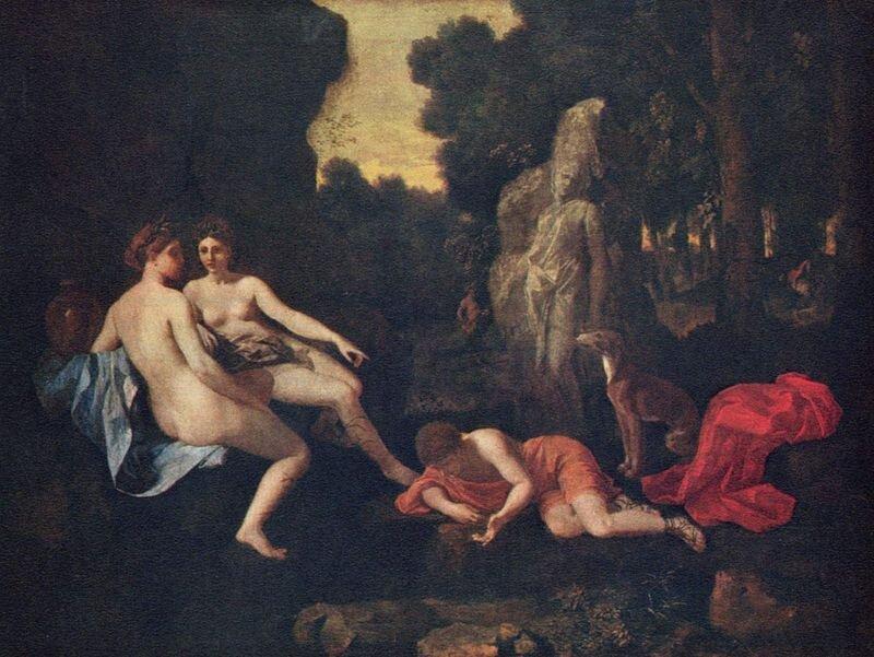Narcyz iEcho Francuski malarz Nicolas Poussin [czyt. Nikola Pusę]przedstawił na prezentowanym obrazie więcej niż dwie tytułowe postacie. Źródło: Nicolas Poussin, Narcyz iEcho, ok. 1630, Gemäldegalerie Alte Meister Drezno.