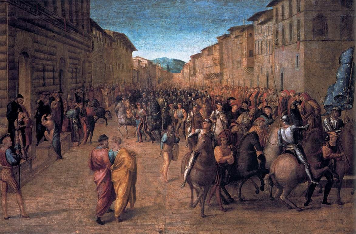 Wjazd Karola VIII do Florencji w1494 r. KarolVIII, powołując się na swoje związki zAndegawenami, którzy zasiadali na tronie Królestwa Neapolu ibyli tytularnymi królami jerozolimskimi, chciał zdobyć nie tylko południowowłoskie posiadłości, ale też stanąć na czele nowej wyprawy krzyżowej. Wdrodze do Neapolu w1494 r. jego armia przejechała m.in. przez Florencję iRzym.Prezentowany obraz pokazuje wjazd króla Francji do sprzymierzonej Florencji, namalowany został przez Francesco Granacci (1469-1543) iobecnie przechowywany jest wGalerii Uffizi we Florencji. Źródło: Francesco Granacci, Wjazd Karola VIII do Florencji w1494 r., 1518, olej na drewnie, Galeria Uffizi, domena publiczna.