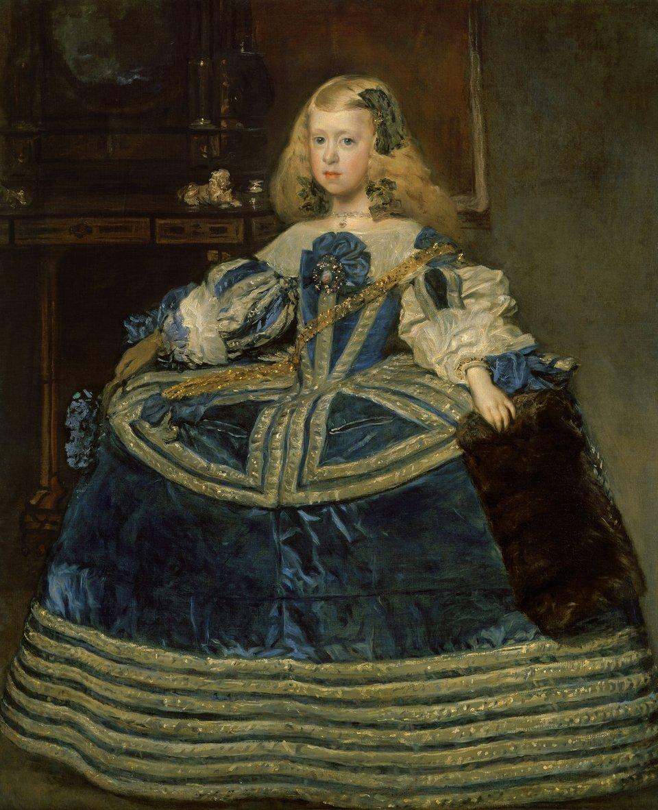 Infantka Małgorzata Teresa wniebieskiej sukni Źródło: Diego Velázquez, Infantka Małgorzata Teresa wniebieskiej sukni, 1659, olej na płótnie, domena publiczna.