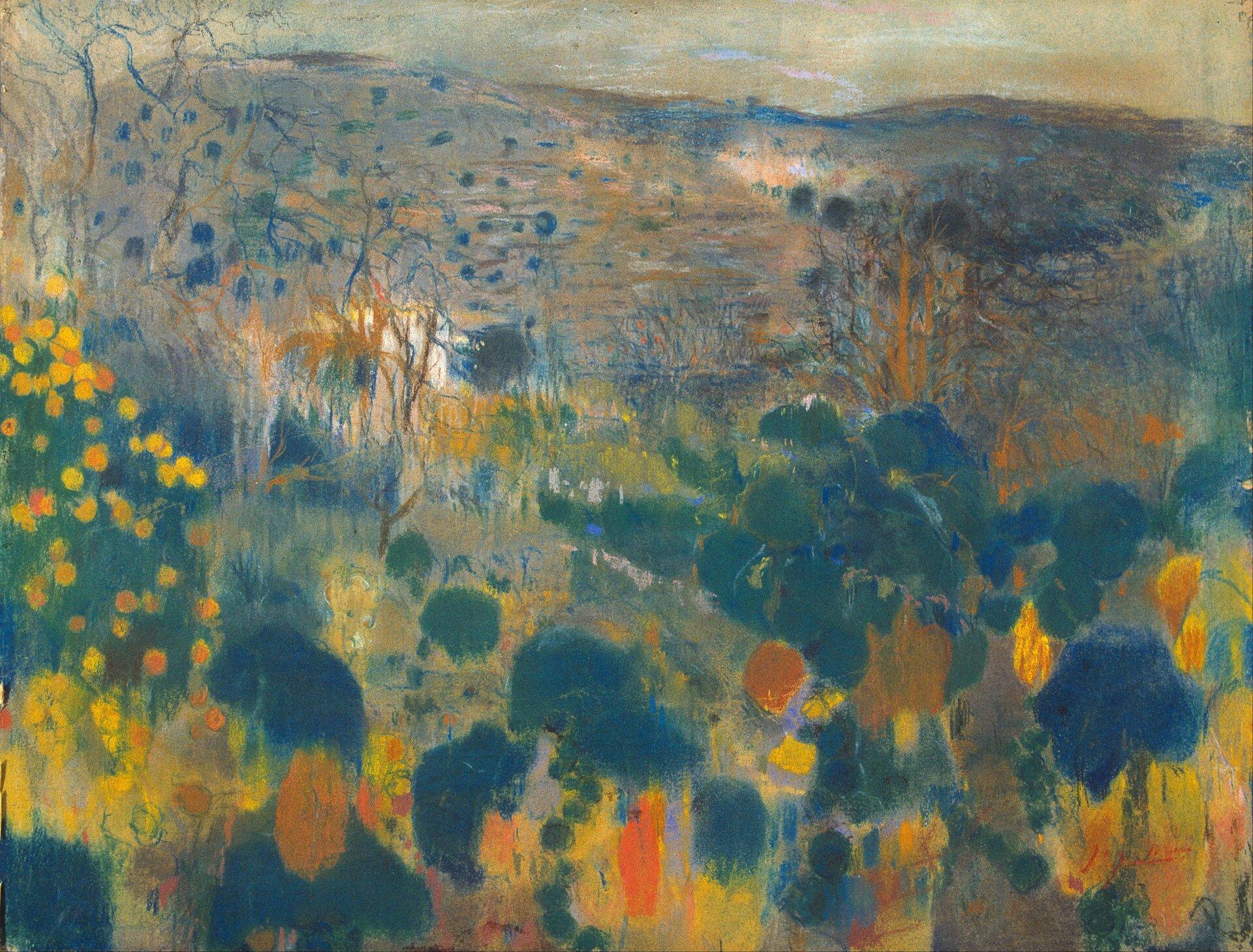 """Ilustracja przedstawia obraz """"Krajobraz"""" autorstwa Joaquima Mira. Dzieło ukazuje syntetycznie namalowany pejzaż. Artysta przy pomocy dużych, zielono-żółto-pomarańczowych plam stworzy na pierwszym planie pagórek, pełen kęp roślin ikwiatów. Wdalszej partii obrazu, nad pagórkiem wznosi się chłodna, niebiesko-szara panorama pól zamknięta falistą linią horyzontu. Górną partię obrazu zamyka pasek ciepłego, żółto-szaro-pomarańczowego nieba. Malarz przy pomocy skalowania plamy barwnej stworzył wrażenie przestrzeni. Im bliżej nas tym plama jest większa, im dalej tym drobniejsza. Kompozycja utrzymana jest wchłodnej tonacji zakcentami żółci ioranżu. Praca została wykonana techniką pasteli na papierze."""