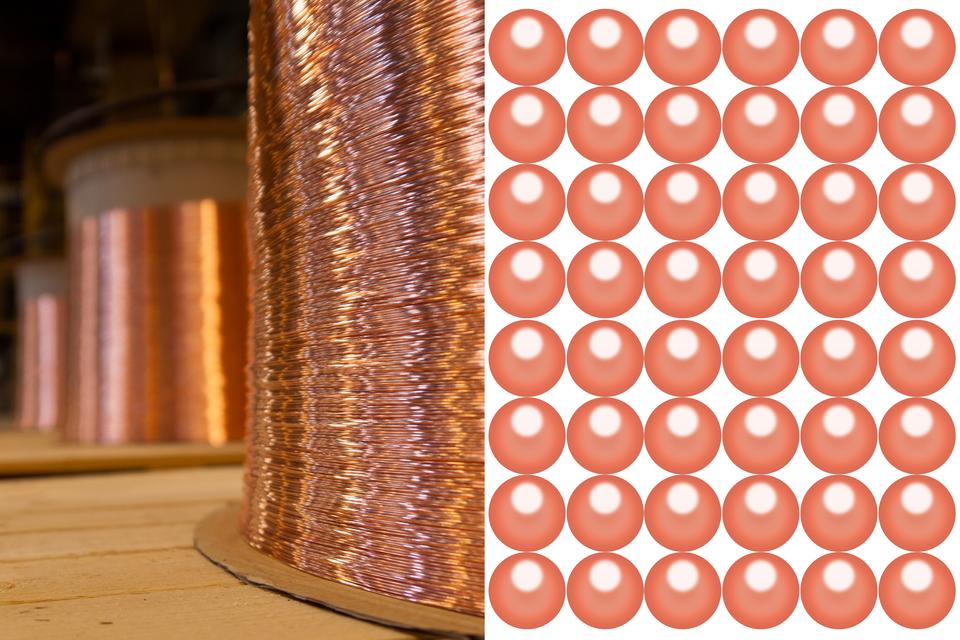 Seria ilustracji przedstawiająca przykłady budowy materii. Na pierwszej widoczny jest zwinięty drut miedziany, aobok - model atomu miedzi.