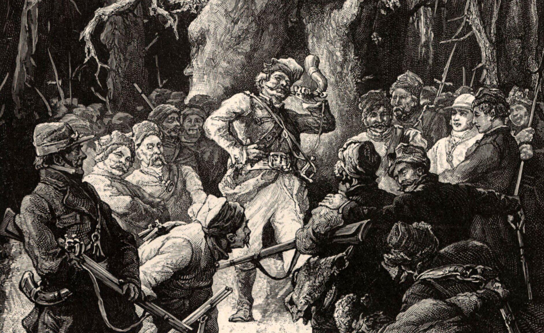 """Okładka Źródło: Michał Elwiro Andriolli, 1882, ilustracja do """"Pana Tadeusza"""", domena publiczna."""