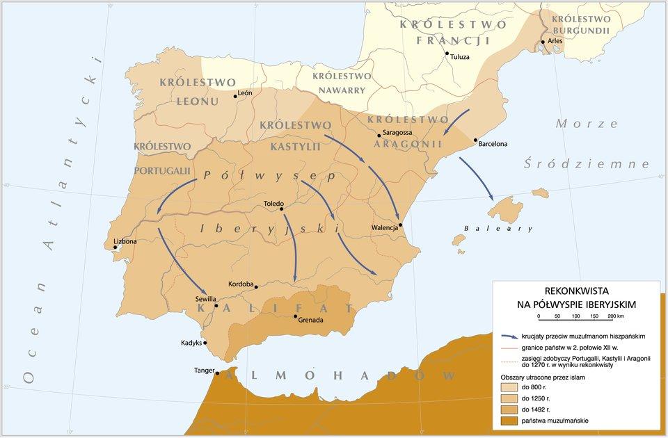 Rekonkwista na Półwyspie Iberyjskim Rekonkwista na Półwyspie Iberyjskim Źródło: Krystian Chariza izespół, licencja: CC BY 3.0.