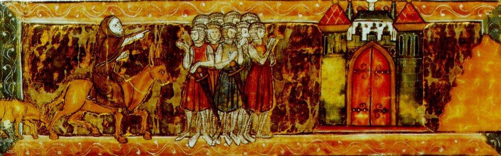 Piotr zAmiens wskazuje krzyżowcom drogę do Jerozolimy Źródło: Piotr zAmiens wskazuje krzyżowcom drogę do Jerozolimy , rękopis, licencja: CC 0.