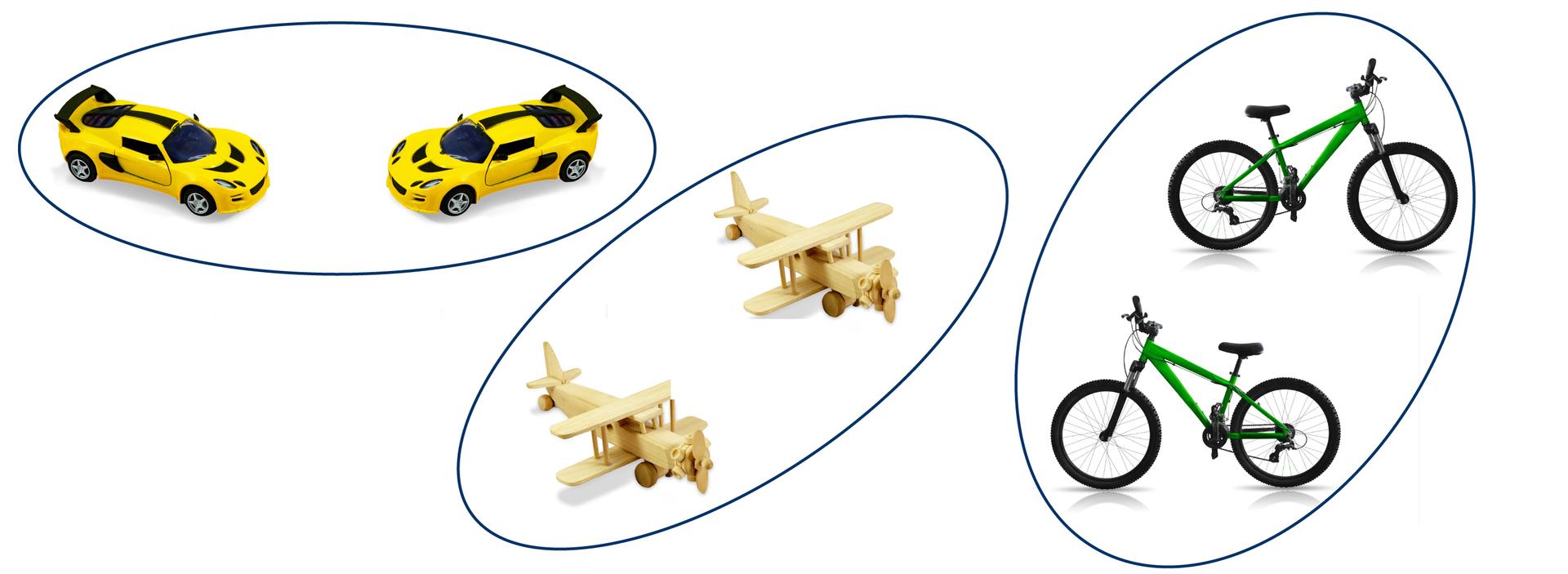 Rysunki trzech par figur podobnych: samochodzików, składanych szybowców irowerów.