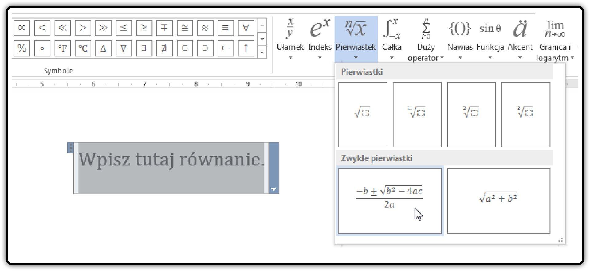 Zrzut okna edytora równań wprogramie MS Word
