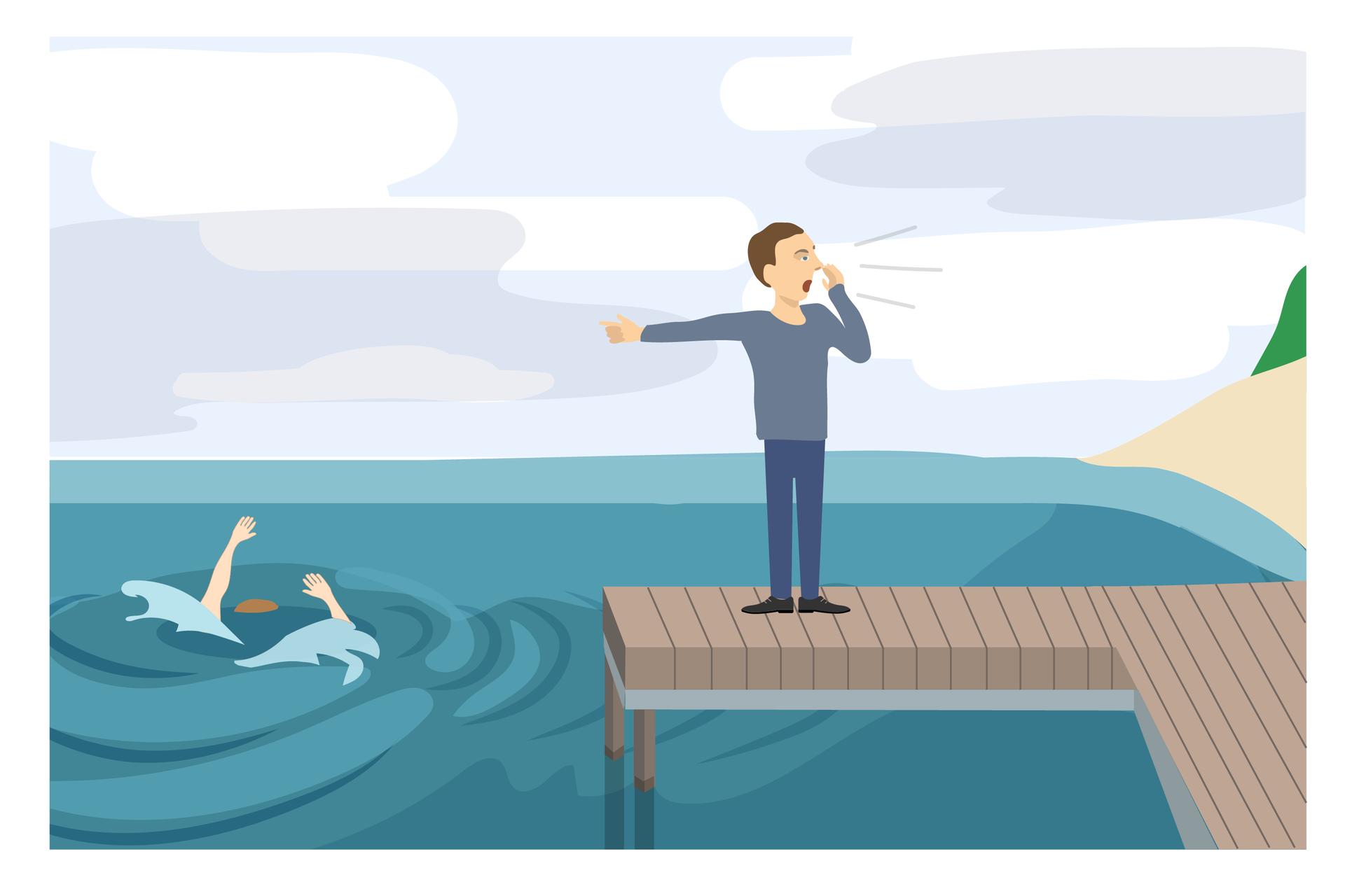 Galeria 1 składa się z7 ilustracji wkształcie prostokąta. Do każdej ilustracji dodany jest krótki opis. Ilustracja 1. przedstawia pomost nad wodą. Zjego prawej strony mieści się plaża. Zaś zlewej topi się człowiek. Na powierzchnię wody włosy wypływają wyprostowane ręce osoby tonącej. Na pomoście stoi mężczyzna skierowany wstronę plaży. Lewą ręką wskazuje na tonącego. Prawą trzyma przy ustach. Mężczyzna krzyczy. Instrukcja do ilustracji: wołaj opomoc ijednocześnie rozmawiaj ztonącym.
