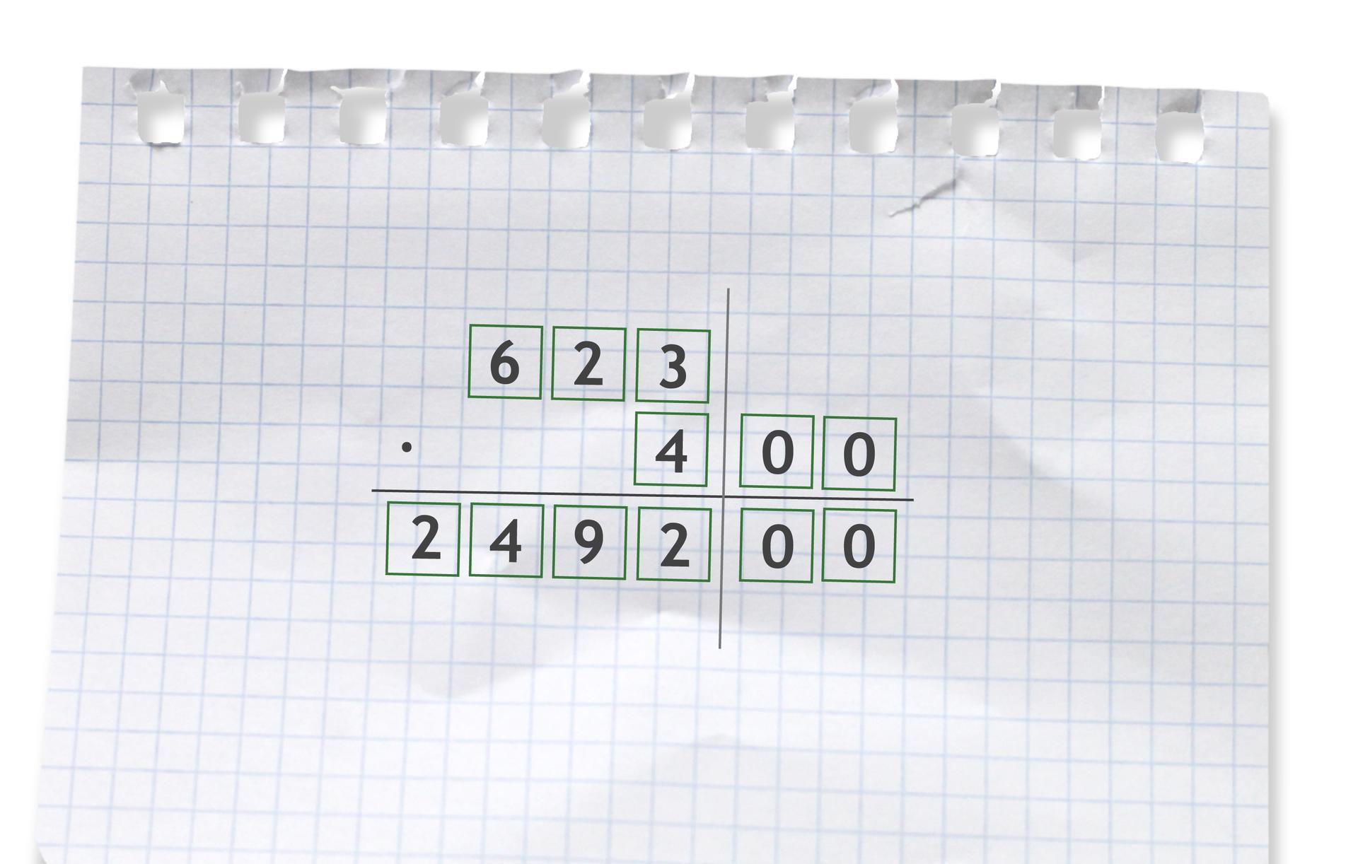 Przykład: 623 razy 400 =249200. Rozwiązanie zadania podpunkt c.