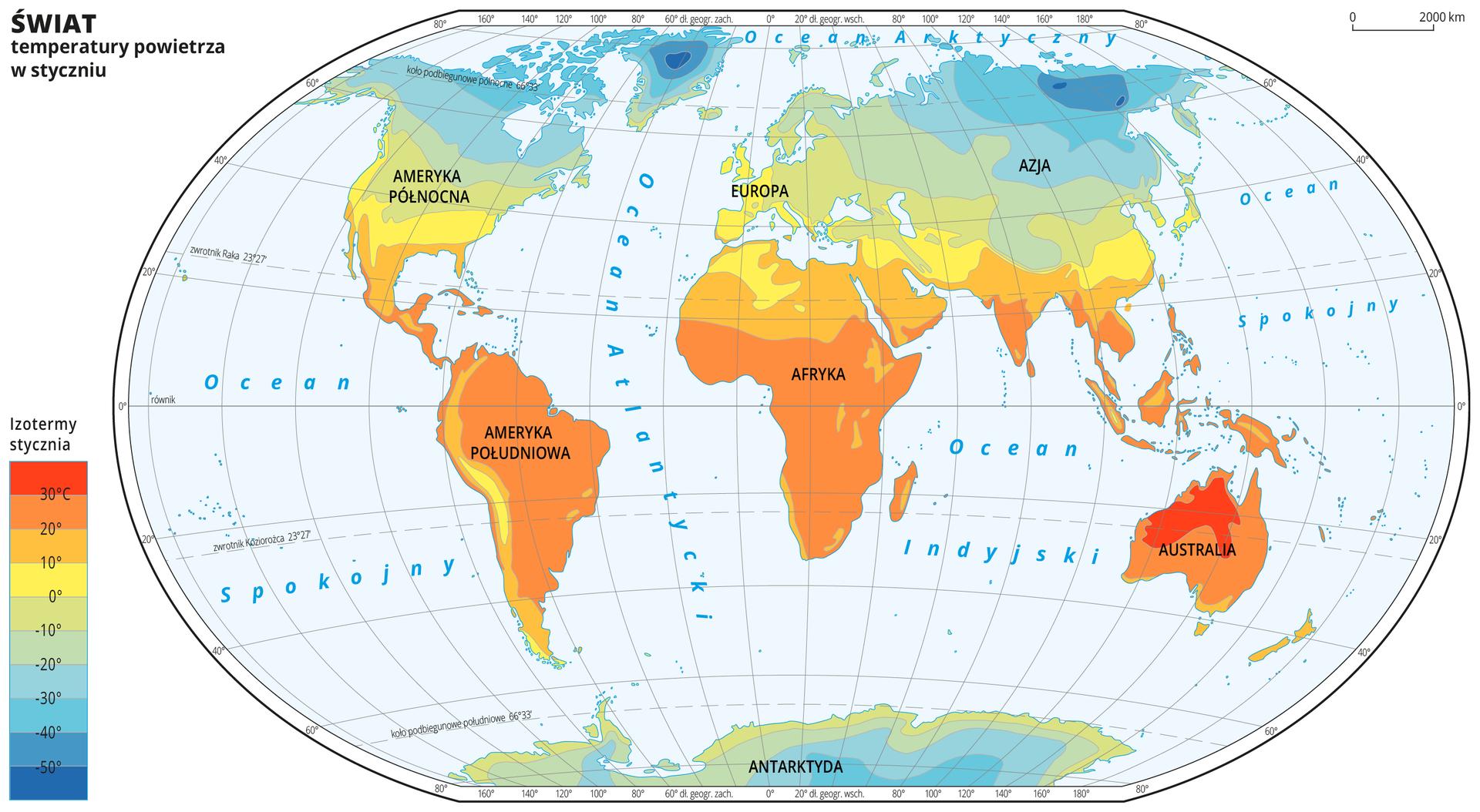 Ilustracja przedstawia mapę świata. Opisano kontynenty. Wody zaznaczono kolorem niebieskim. Opisano oceany. Na mapie wobrębie lądów kolorami zaznaczono średnie miesięczne temperatury powietrza wstyczniu. Centralną część mapy pokrywa kolor pomarańczowy iżółty. Na północy ipołudniu kolor przechodzi wzielony do niebieskiego. Mapa pokryta jest równoleżnikami ipołudnikami. Dookoła mapy wbiałej ramce opisano współrzędne geograficzne co dwadzieścia stopni. Po lewej stronie mapy wlegendzie umieszczono prostokątny pionowy pasek. Pasek podzielono na dziesięć części. Ugóry – ciemnopomarańczowy, dalej pomarańczowy, środek żółty przechodzący wzielony, na dole niebieski do ciemnoniebieskiego. Każda część paska obrazuje dziesięciostopniowy przedział średniej miesięcznej temperatury powietrza wstyczniu wróżnych regionach świata. Ciemnopomarańczowy oznacza obszary najcieplejsze, ciemnoniebieski – najzimniejsze. Odcieniami koloru pomarańczowego zaznaczono obszary ośredniej miesięcznej temperaturze powietrza wstyczniu powyżej dziesięciu stopni Celsjusza, kolorem żółtym – od zera do dziesięciu stopni Celsjusza. Odcieniami koloru zielonego iniebieskiego zaznaczono obszary ośredniej miesięcznej temperaturze powietrza wstyczniu poniżej zera. Obszary onajniższej średniej temperaturze powietrza wstyczniu – poniżej pięćdziesiąt stopni Celsjusza znajdują się na północy Azji ina Grenlandii. Obszary oznaczone kolorem ciemnopomarańczowym, na których średnia temperatura powietrza wstyczniu wynosi powyżej trzydziestu stopni Celsjusza znajdują się wAustralii.