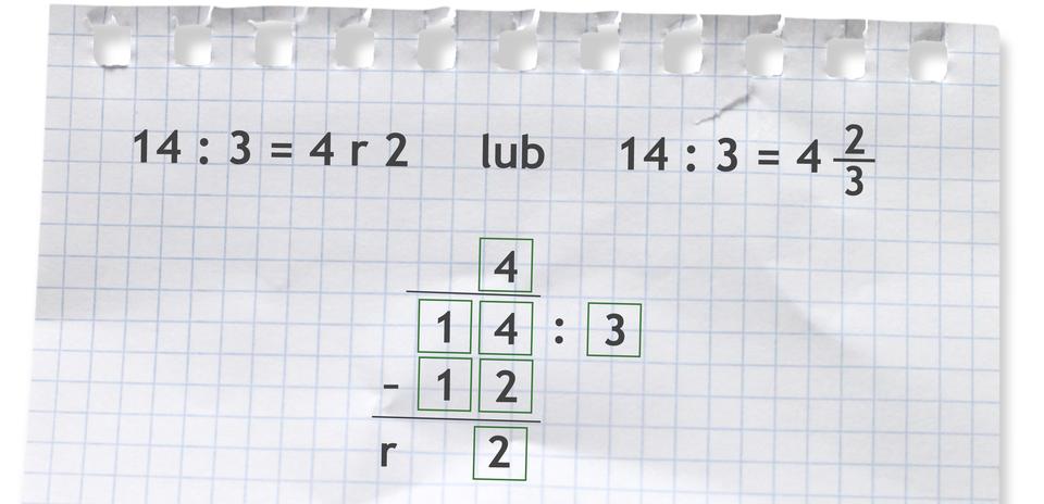 """""""Przykłady: 14 dzielone przez 3 =4 r2"""
