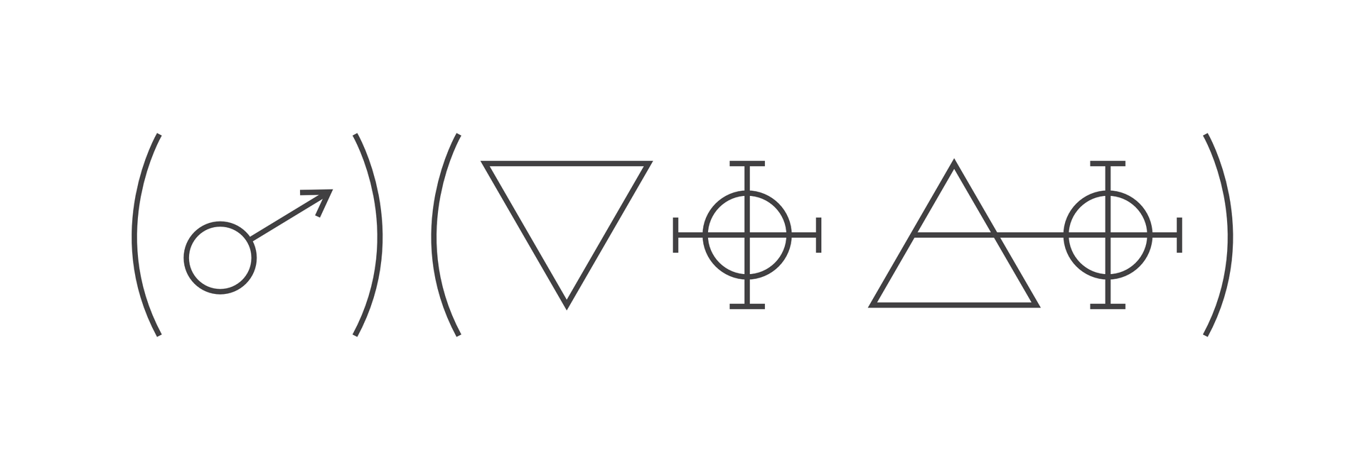 Ilustracja przedstawia osiemnastowieczny zapis reakcji chemicznej na przykładzie reakcji żelaza zkwasem azotowym. Wykorzystuje on symbole zamknięte wnawiasach ułożonych obok siebie. Zlewej strony wnawiasie znajduje się symbol planety Mars. Tuż obok, wdrugim nawiasie zapis symboliczny składa się, licząc od lewej, zodwróconego trójkąta, symbolu przypominającego krzyż celtycki oraz zwykłego trójkąta po którym następuje kolejny krzyż celtycki, ale zramieniem przecinającym trójkąt poziomo wpołowie jego wysokości.