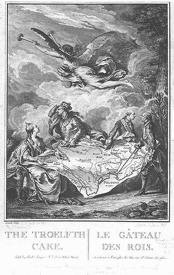 Kołacz królewski – alegoria rozbioru Polski Rysunek 1. Źródło: Noël Le Mire, Kołacz królewski – alegoria rozbioru Polski, 1773, miedzioryt, domena publiczna.