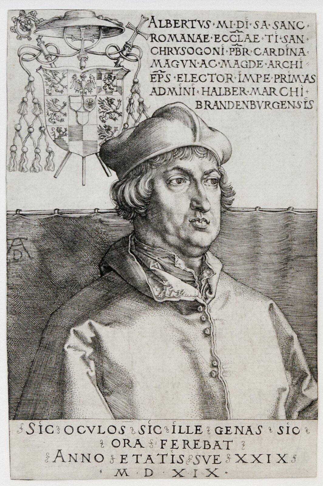 Albrecht Hohenzollern – arcybiskup Magdeburga iMoguncji Źródło: Albrecht Dürer, Albrecht Hohenzollern – arcybiskup Magdeburga iMoguncji, 1519, rycina, Victoria and Albert Museum, domena publiczna.