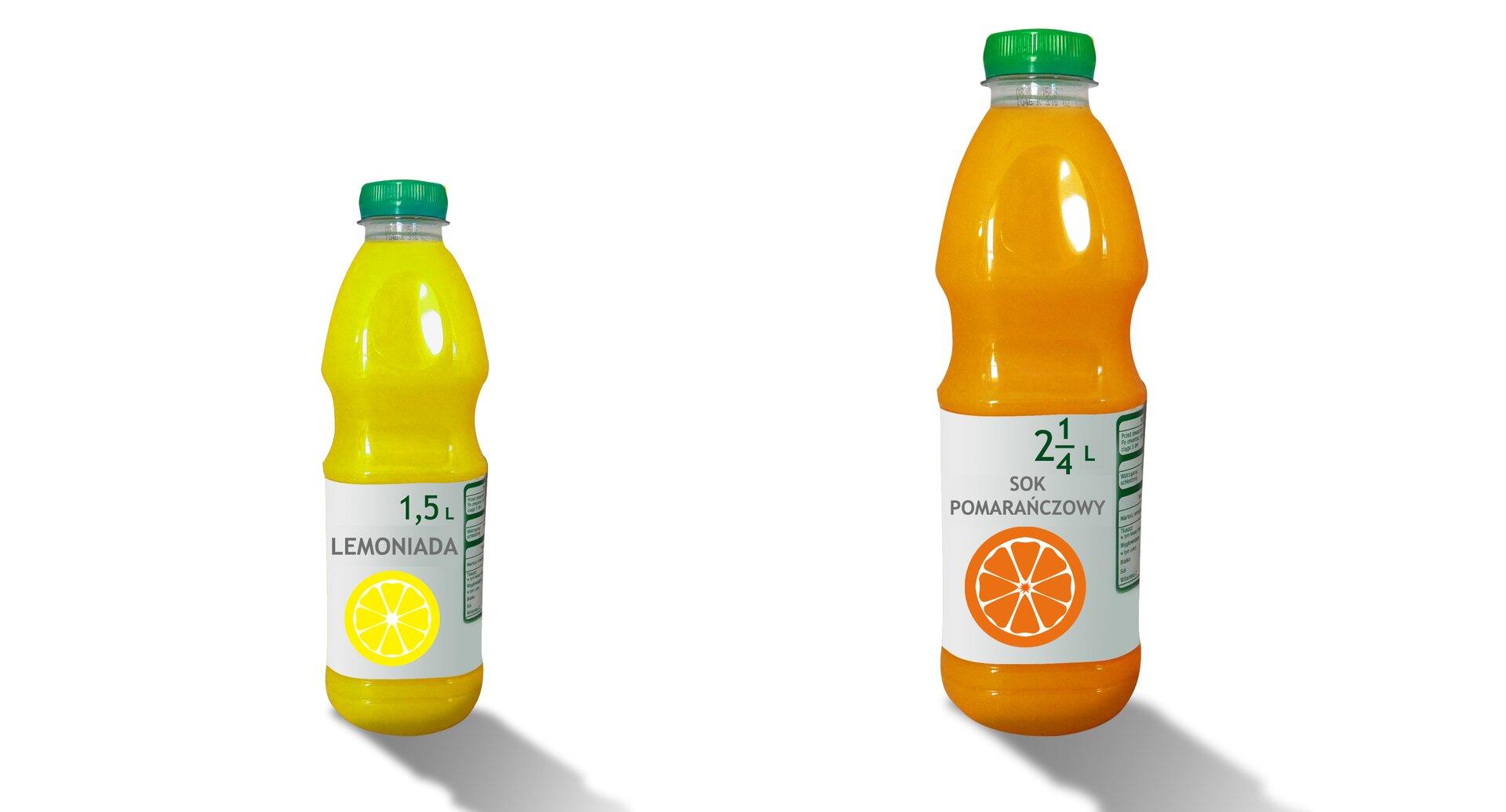 Rysunek dwóch butelek znapojami. Lemoniada - 1,5 litra, sok pomarańczowy - dwie całe ijedna czwarta litra.