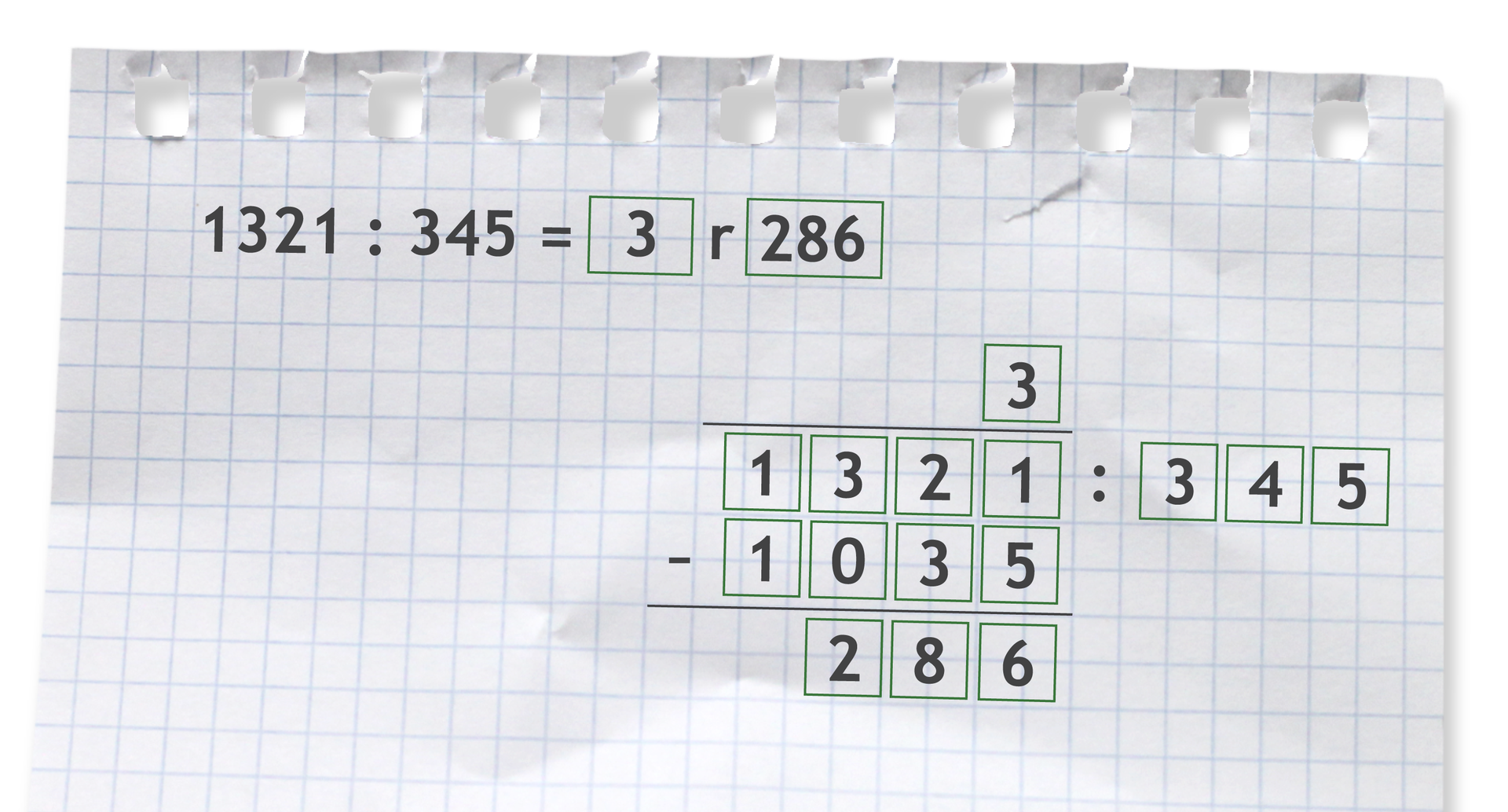 Przykład: 1321 dzielone przez 345 =3 r286. Rozwiązanie zadania podpunkt c.