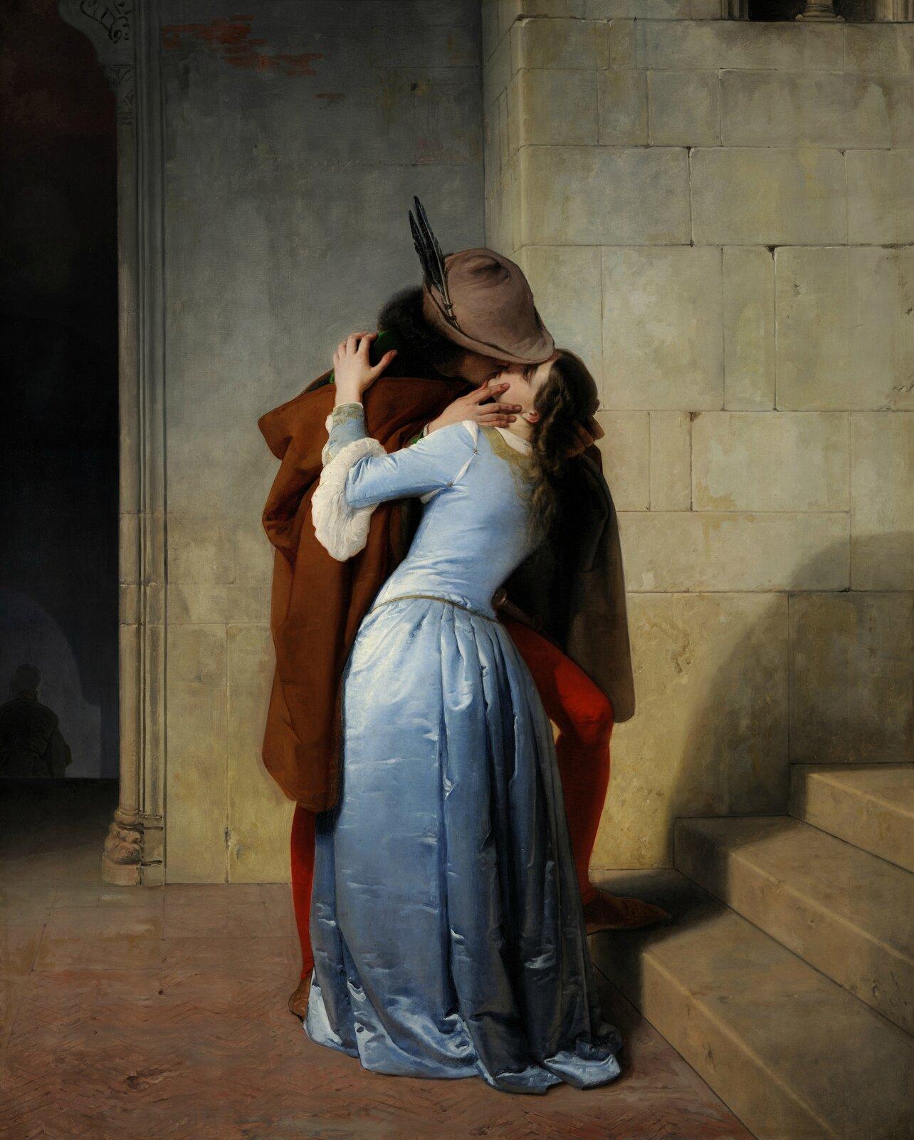 Pocałunek 3. Źródło: Francesco Hayez, Pocałunek, 1859, olej na płótnie, Pinacoteca di Brera, Mediolan, domena publiczna.