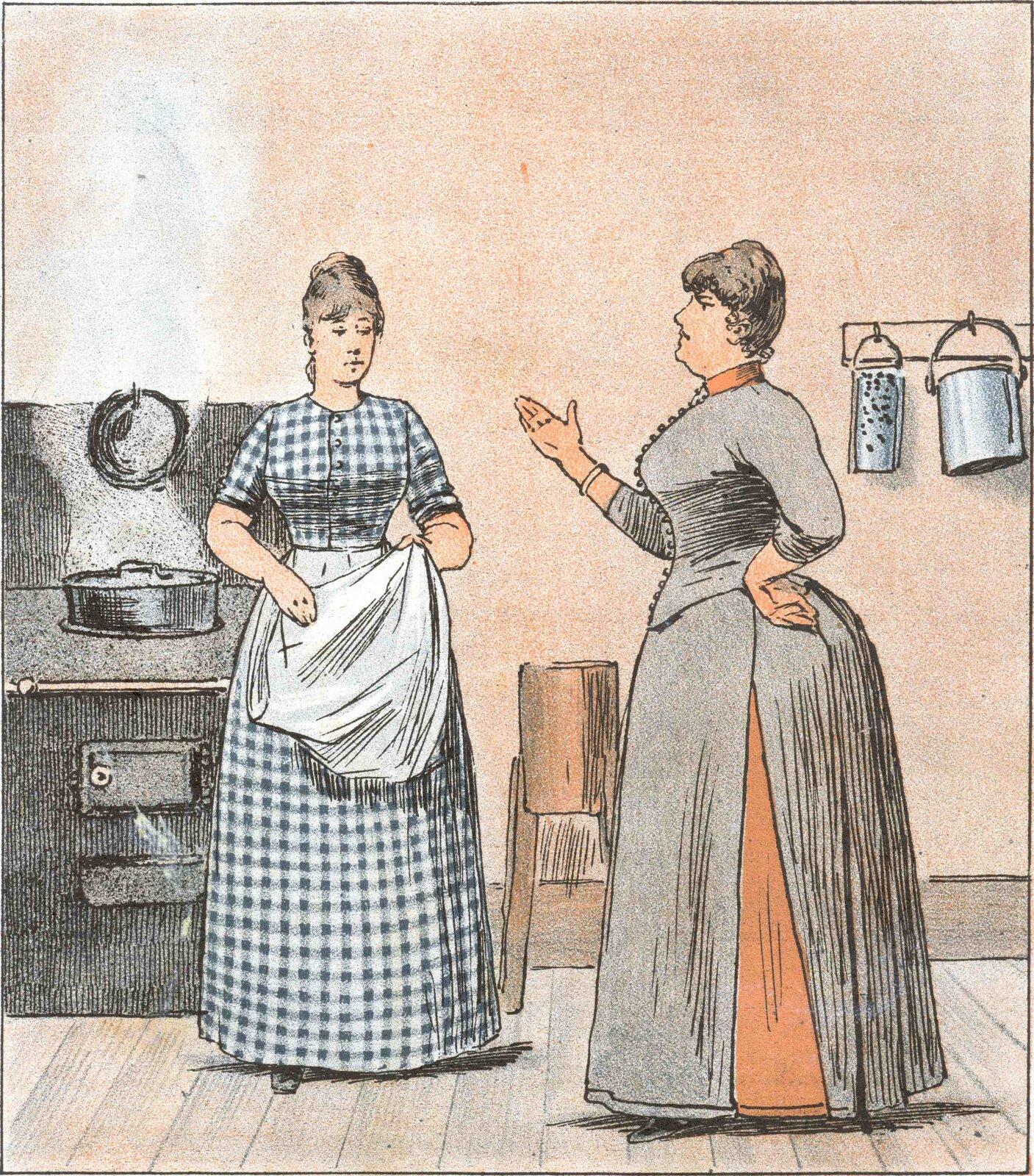 Pani głośno krytykuje kucharkę Źródło: Pani głośno krytykuje kucharkę, 1890, domena publiczna.