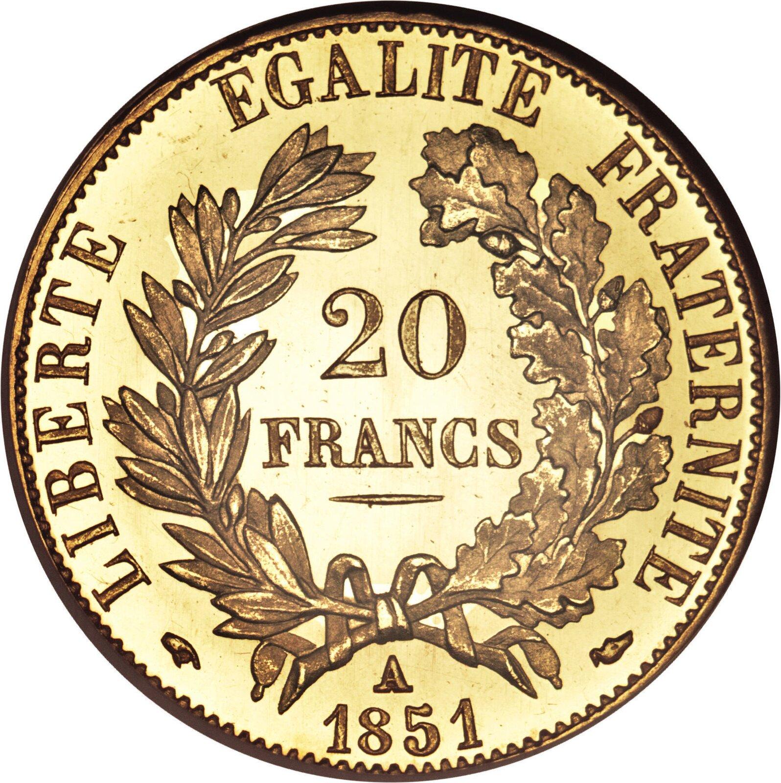 """20 franków znapisem: """"Wolność, równość, braterstwo"""" 20 franków znapisem: """"Wolność, równość, braterstwo"""" Źródło: 1851, domena publiczna."""