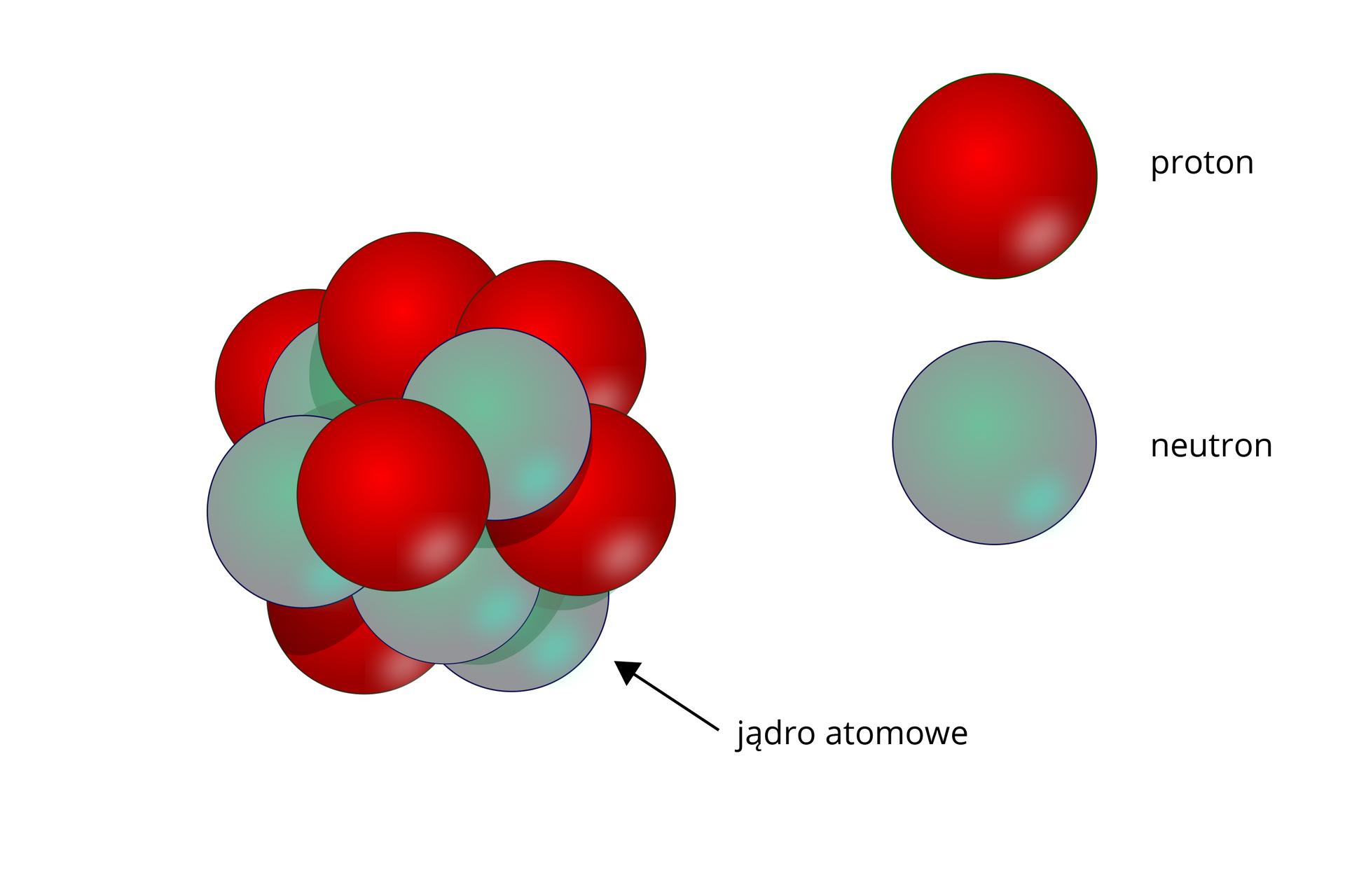 Schemat przedstawiający budowę jądra atomowego
