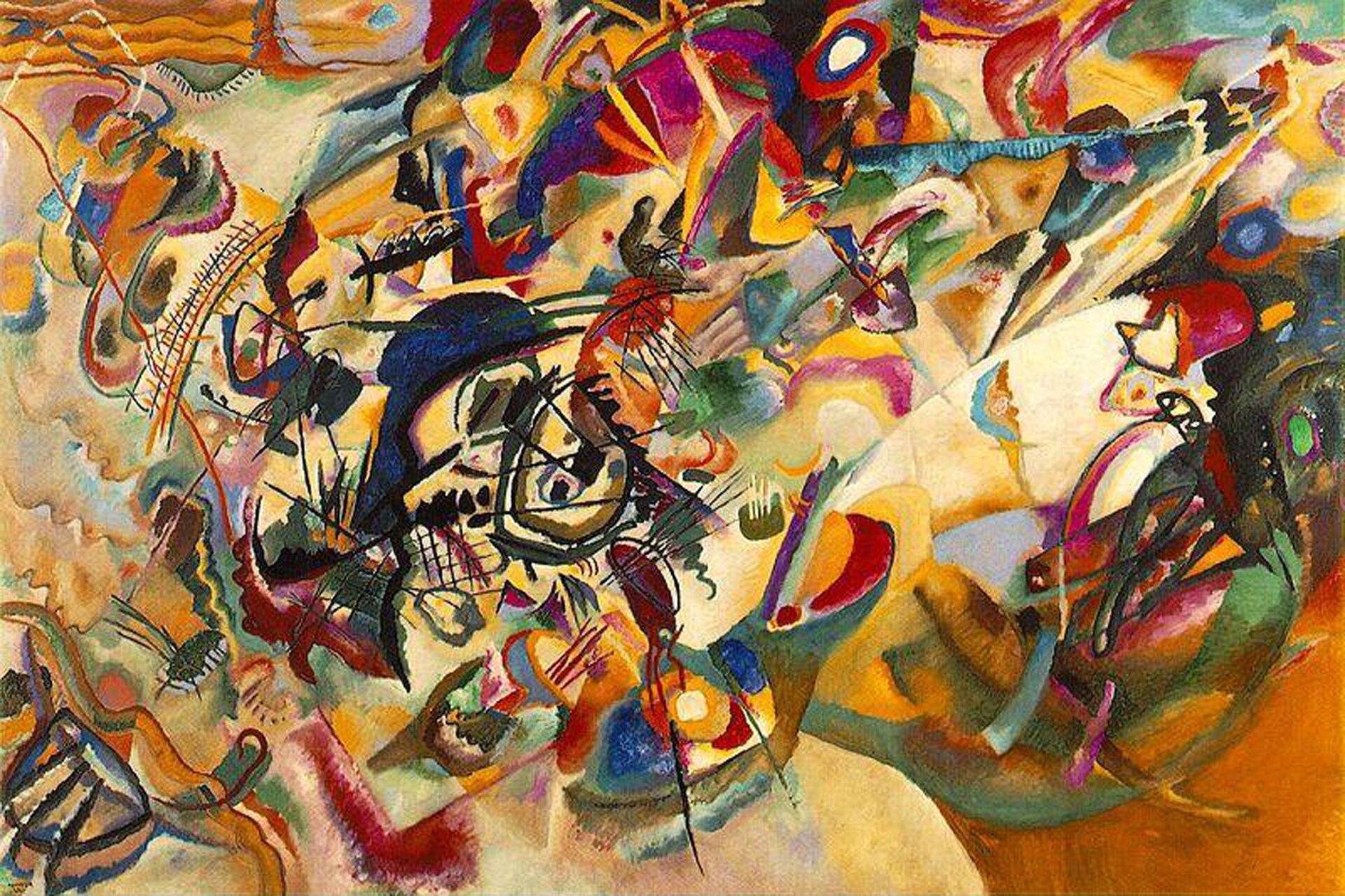 """lustracja przedstawia obraz Wassilya Kandinsky'ego pt. """"Kompozycja VII"""". Ukazuje ona kubistyczne dzieło. Kompozycja złożona jest znakładających się na siebie plam kolorów iniewielkiej ilości geometrycznych kształtów. Obraz epatuje wielością barw. Przyciąga kłębowisko czarnych linii ifioletowych plam, znajdujące się nieco na lewo od centrum obrazu. Tworzy ono """"punkt ciężkości"""" kompozycji, kształty na prawo od niej są mniej wyraźne, zaś barwy nieco cieplejsze."""
