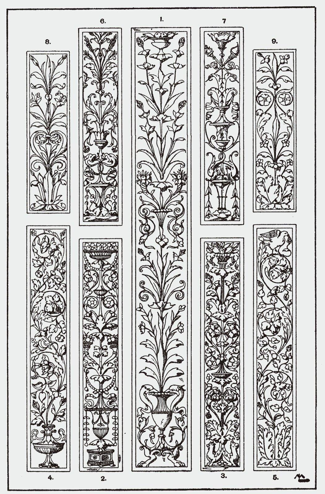 Ilustracja przedstawia ornament wformie świecznika połączonego zmotywami dekoracyjnymi, takimi jak wić roślinna czy groteska ułożone wukładzie symetrycznym. Ornament ten był stosowany na pionowych, wąskich płycinach.
