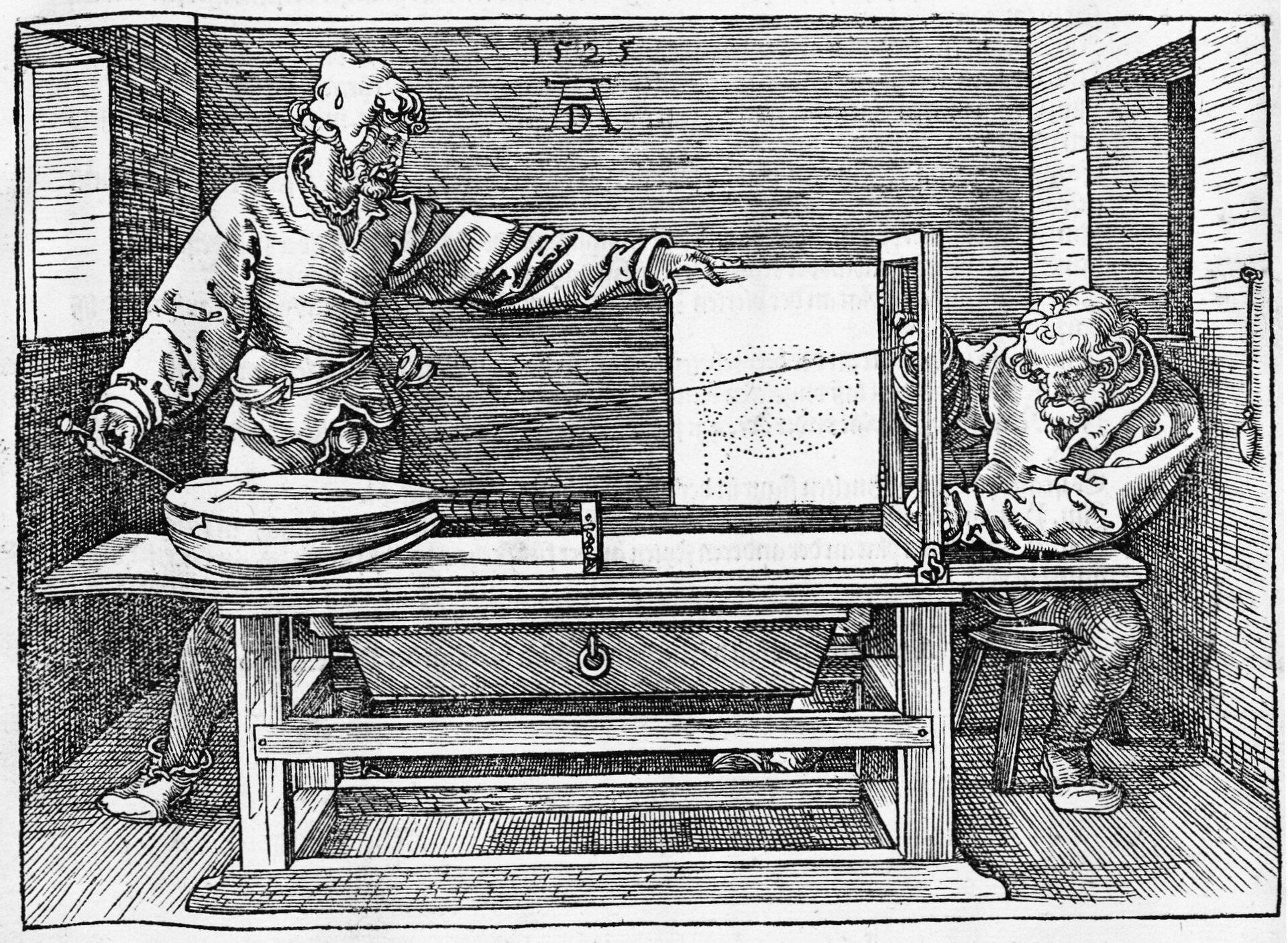 Underweysung der Messung, mit dem Zirckel und Richtscheyt, in Linien, Ebenen und gantzen corporen (Instrukcja pomiarów zcyrklem ilinijką linii, płaszczyzn icałych figur) Grafika Albrechta Dürera z1525 r. (widać monogram artysty idatę)przedstawia dwóch mężczyzn zajętych nanoszeniem na karton papieru orozmiarach przyszłego obrazu proporcji leżącego instrumentu (lutni). Prowadzą oni sznurek izaznaczają, wktórym miejscu linia przetnie papier lub płótno na ustawionej pionowo ramie. Źródło: Albrecht Dürer, Underweysung der Messung, mit dem Zirckel und Richtscheyt, in Linien, Ebenen und gantzen corporen (Instrukcja pomiarów zcyrklem ilinijką linii, płaszczyzn icałych figur), 1525, Norymberga 1525, księga IV, s. 180, domena publiczna, [online], dostępny winternecie: https://de.wikisource.org/wiki/Underweysung_der_Messung,_mit_dem_Zirckel_und_Richtscheyt,_in_Linien,_Ebenen_unnd_gantzen_corporen/Viertes_Buch [dostęp 1.11.2015 r.].